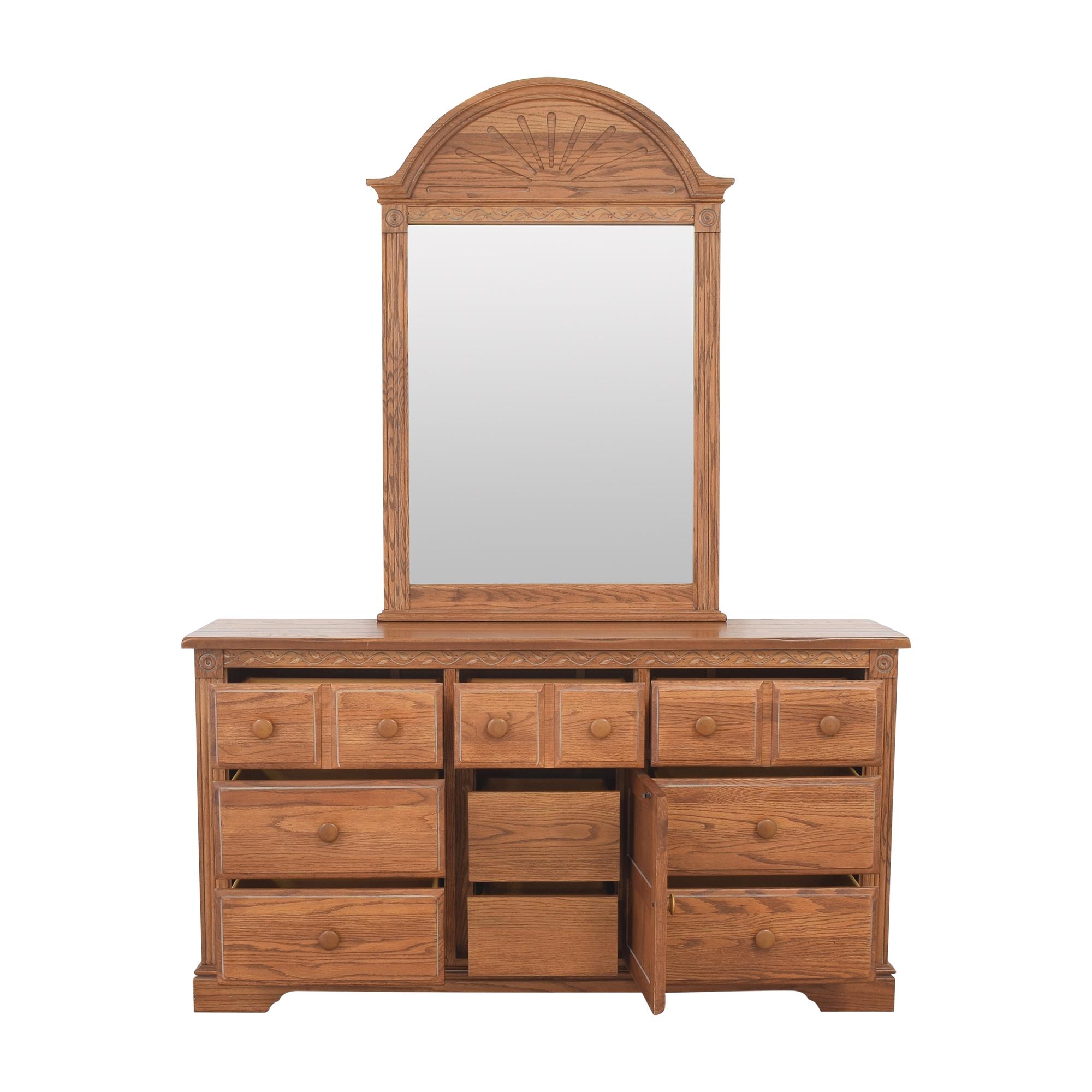 Broyhill Furniture Broyhill Door Dresser with Mirror light brown