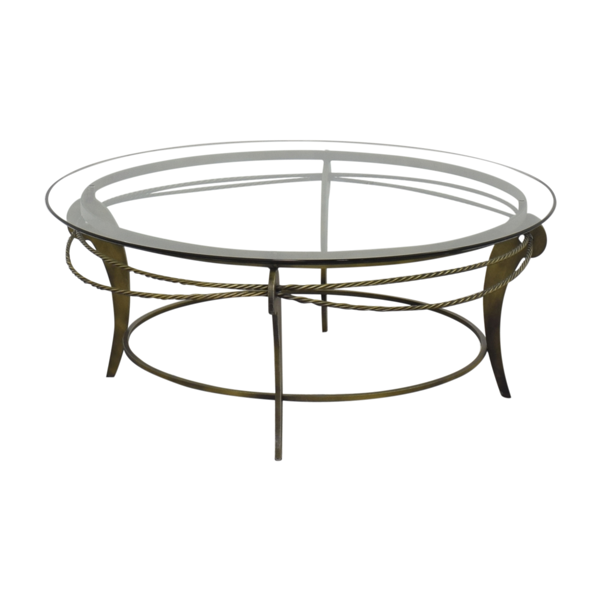 buy Ethan Allen Round Glass and Metal Coffee Table Ethan Allen Tables