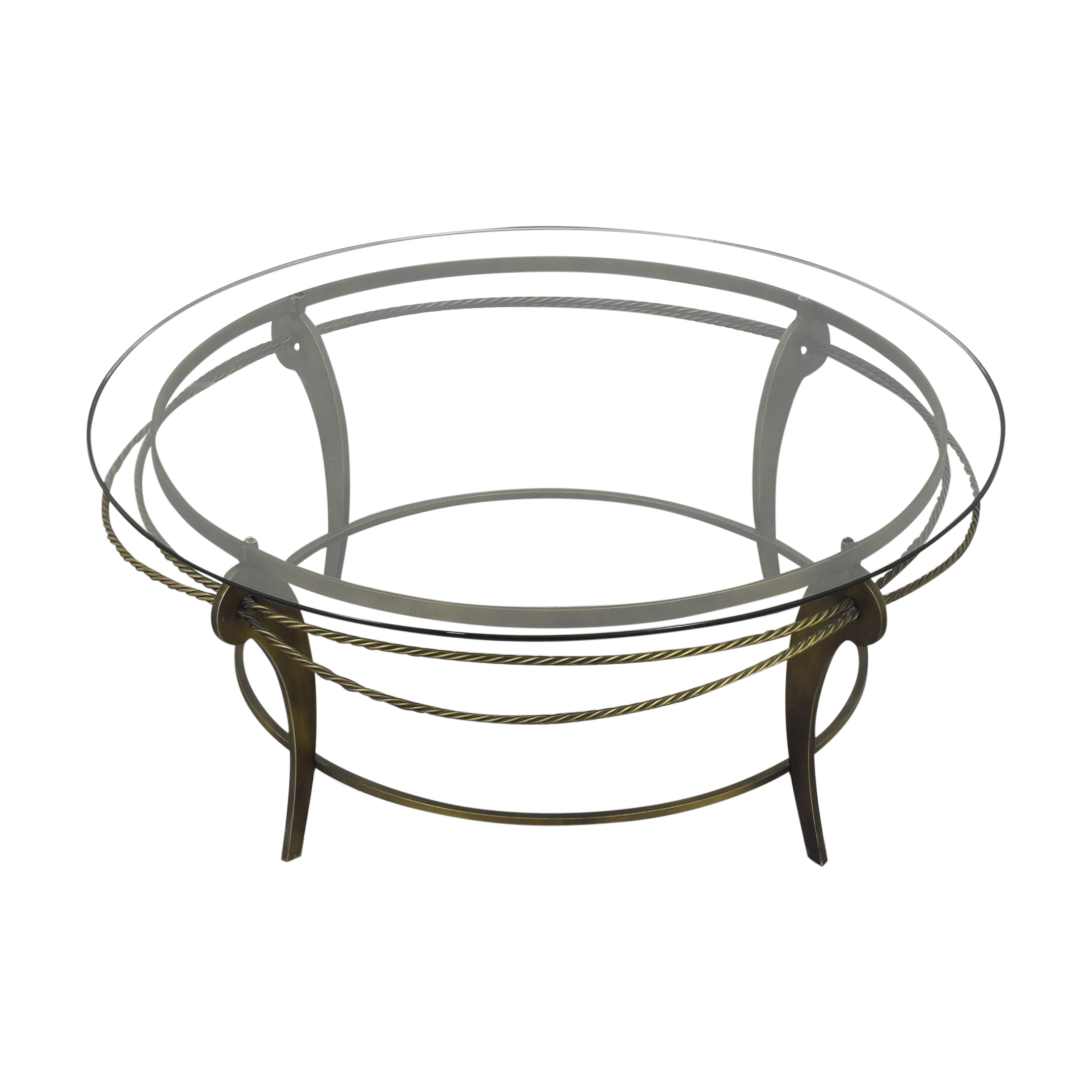 Ethan Allen Ethan Allen Round Glass and Metal Coffee Table Coffee Tables