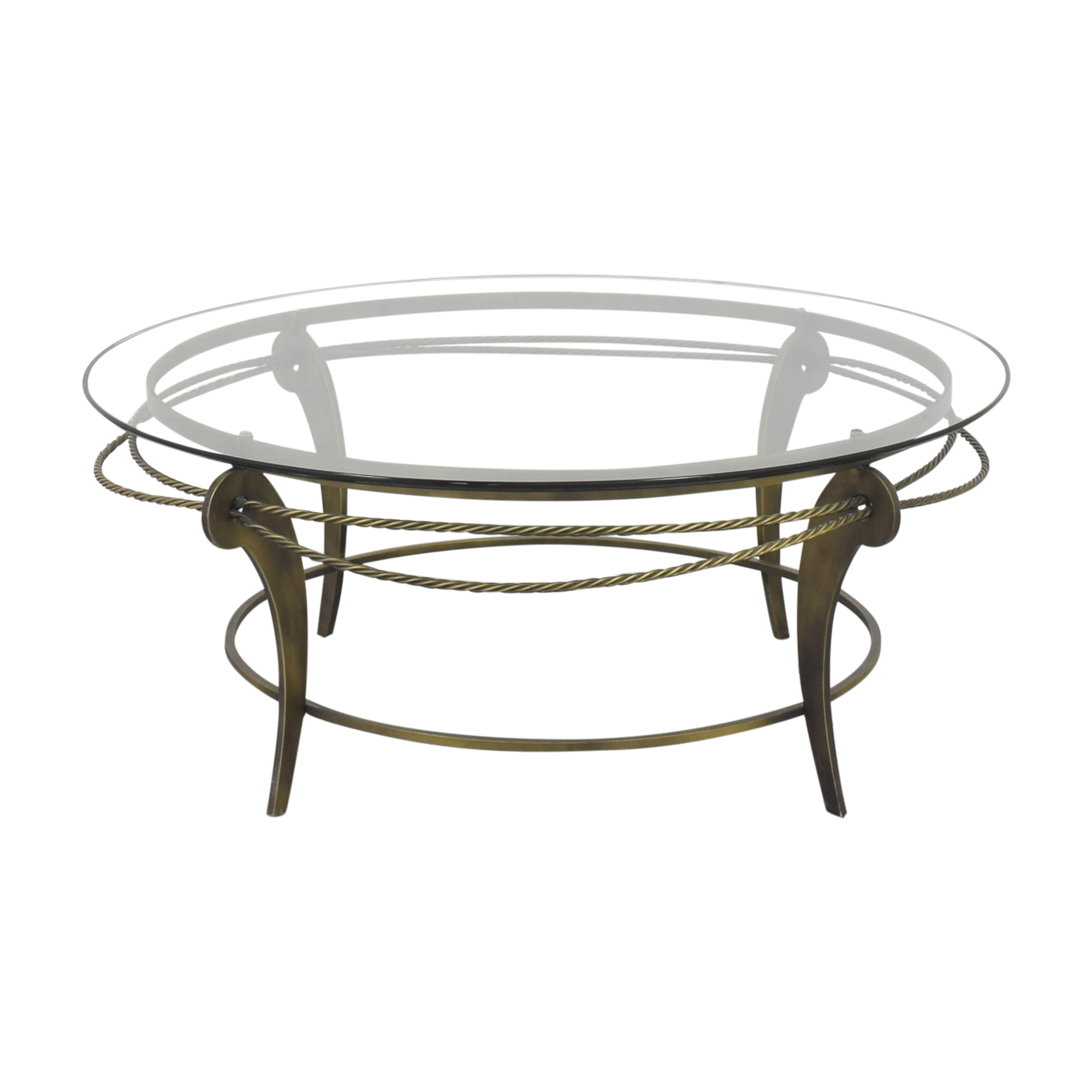 Ethan Allen Round Glass and Metal Coffee Table sale