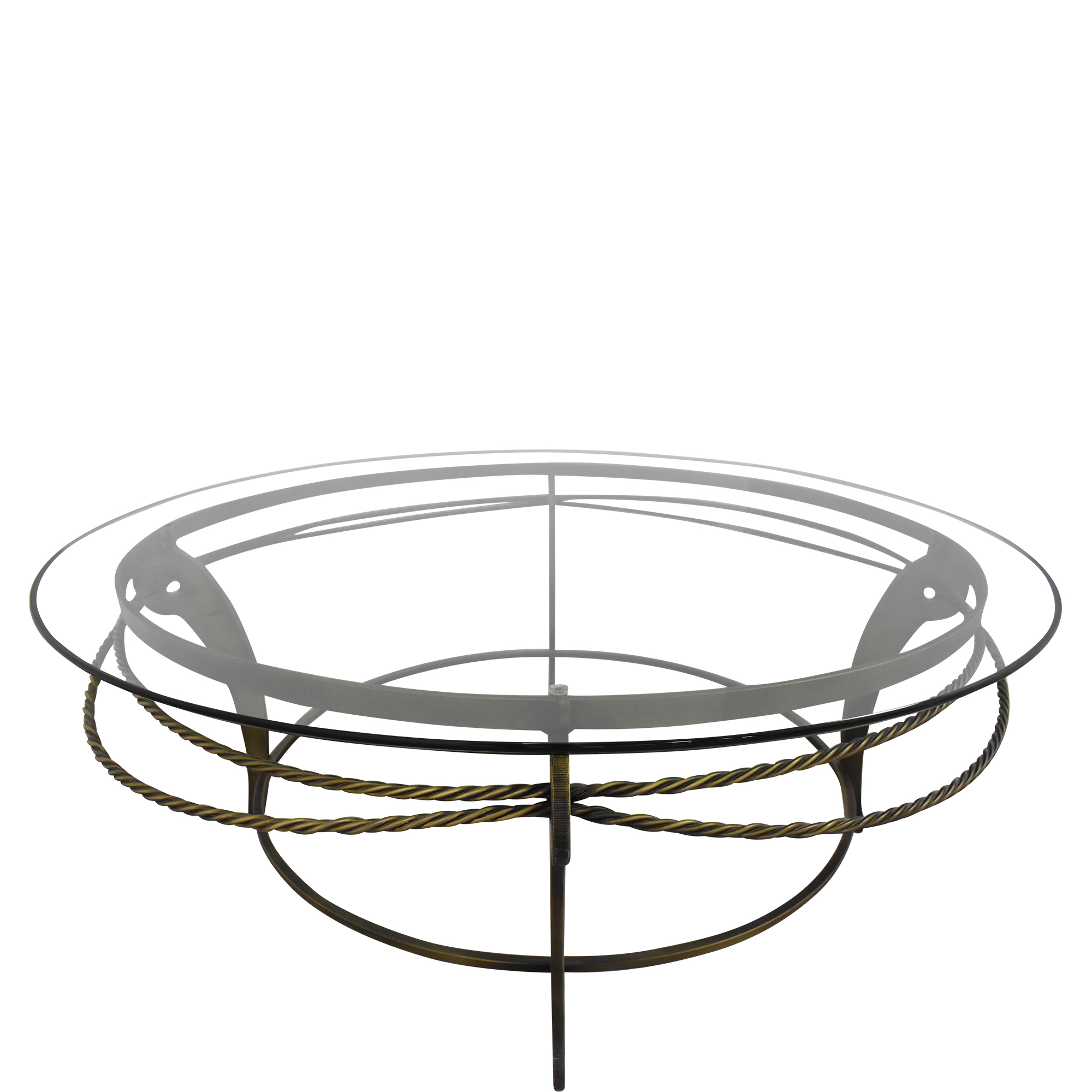 Ethan Allen Round Glass and Metal Coffee Table Ethan Allen