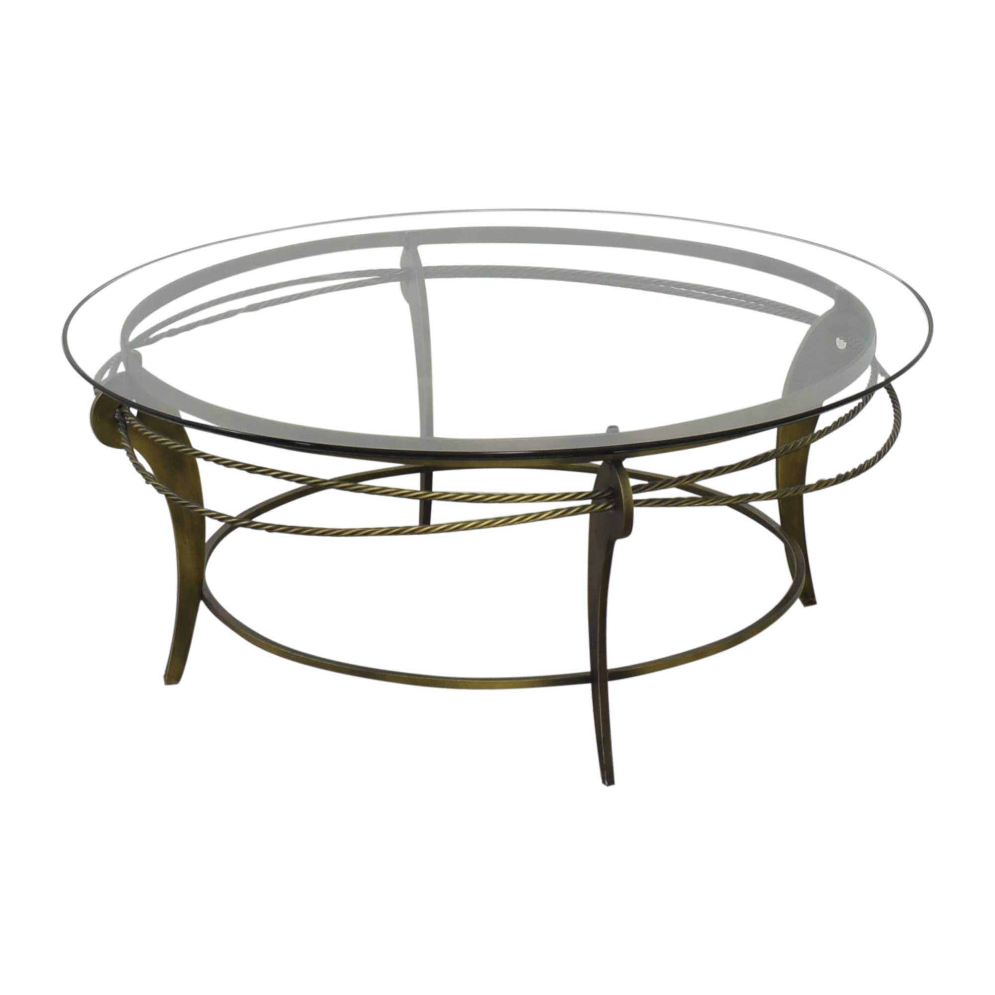 Ethan Allen Ethan Allen Round Glass and Metal Coffee Table on sale