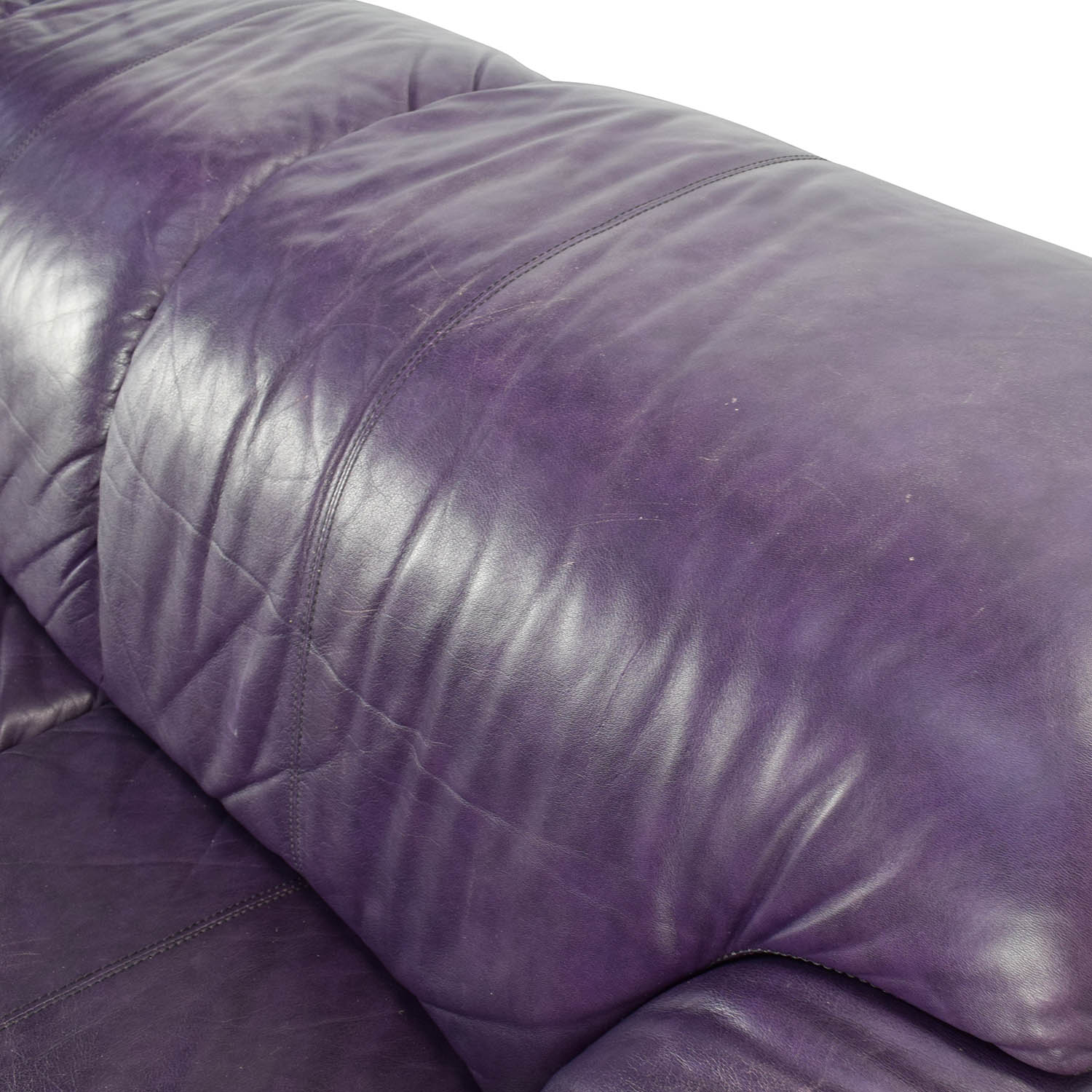 85 Off Himolla Himolla Purple Leather Sofa With Ottoman