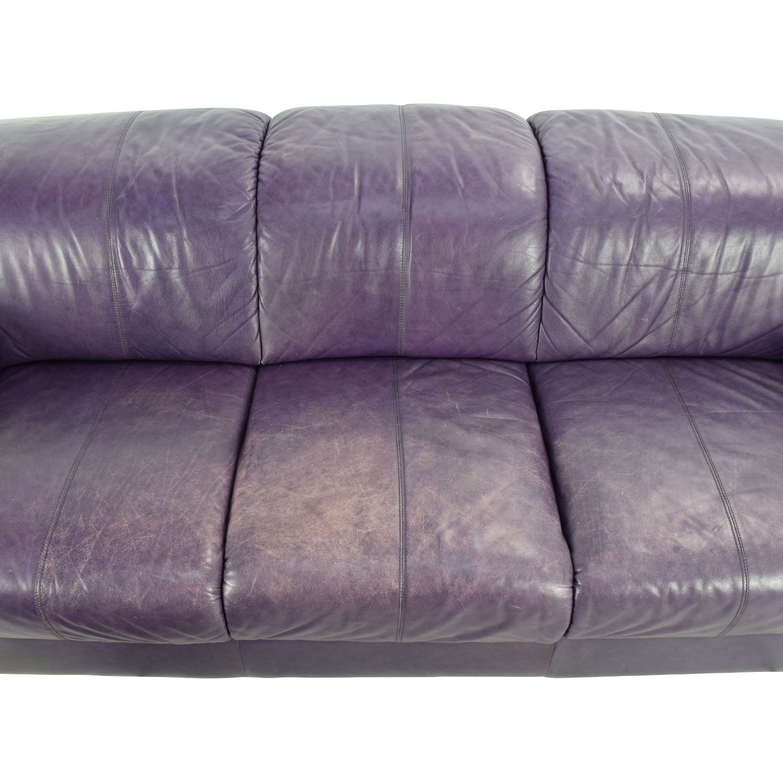 85 Off Himolla Himolla Purple Leather Sofa With Ottoman