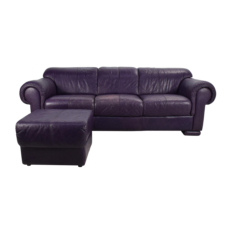 85% OFF - himolla Himolla Purple Leather Sofa with Ottoman / Sofas