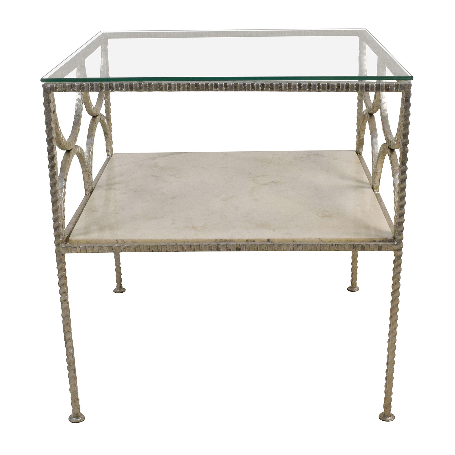 shop Wisteria Fitzgerald Silver Glass and Marble Table Wisteria