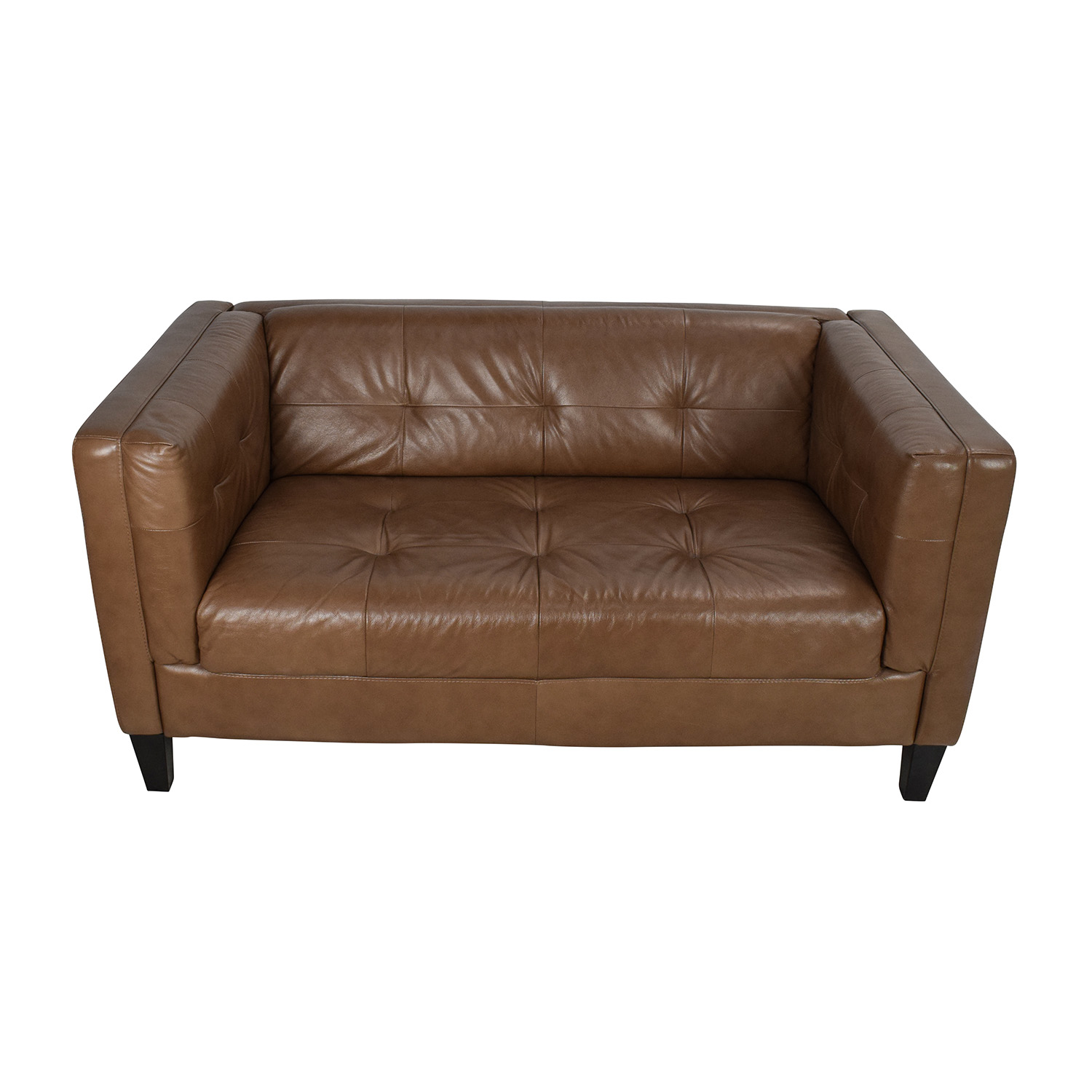 Raymour & Flanigan Raymour & Flanigan Bartolo Leather Loveseat Brown