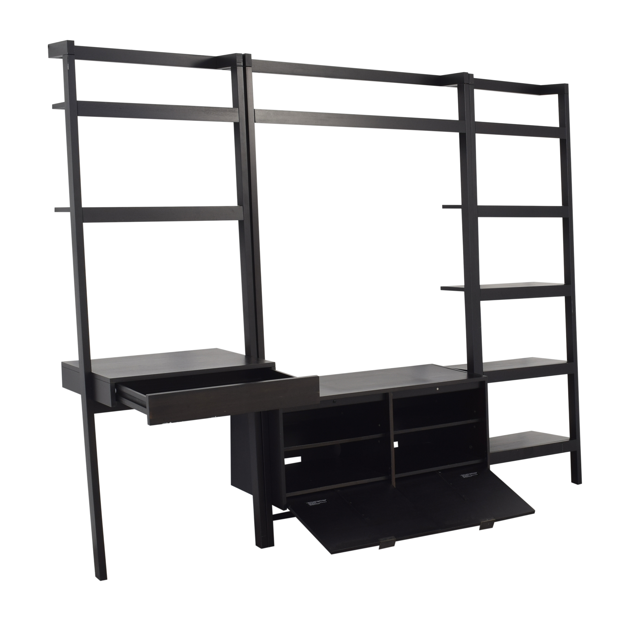 shop Crate & Barrel Sawyer Leaning Media Stand with Bookcases Crate & Barrel