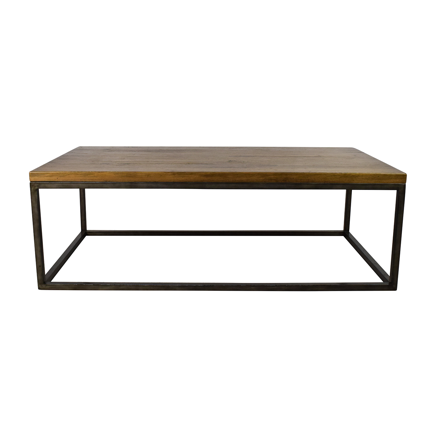 85% OFF Rustic Industrial Wood and Glass Coffee Table Tables