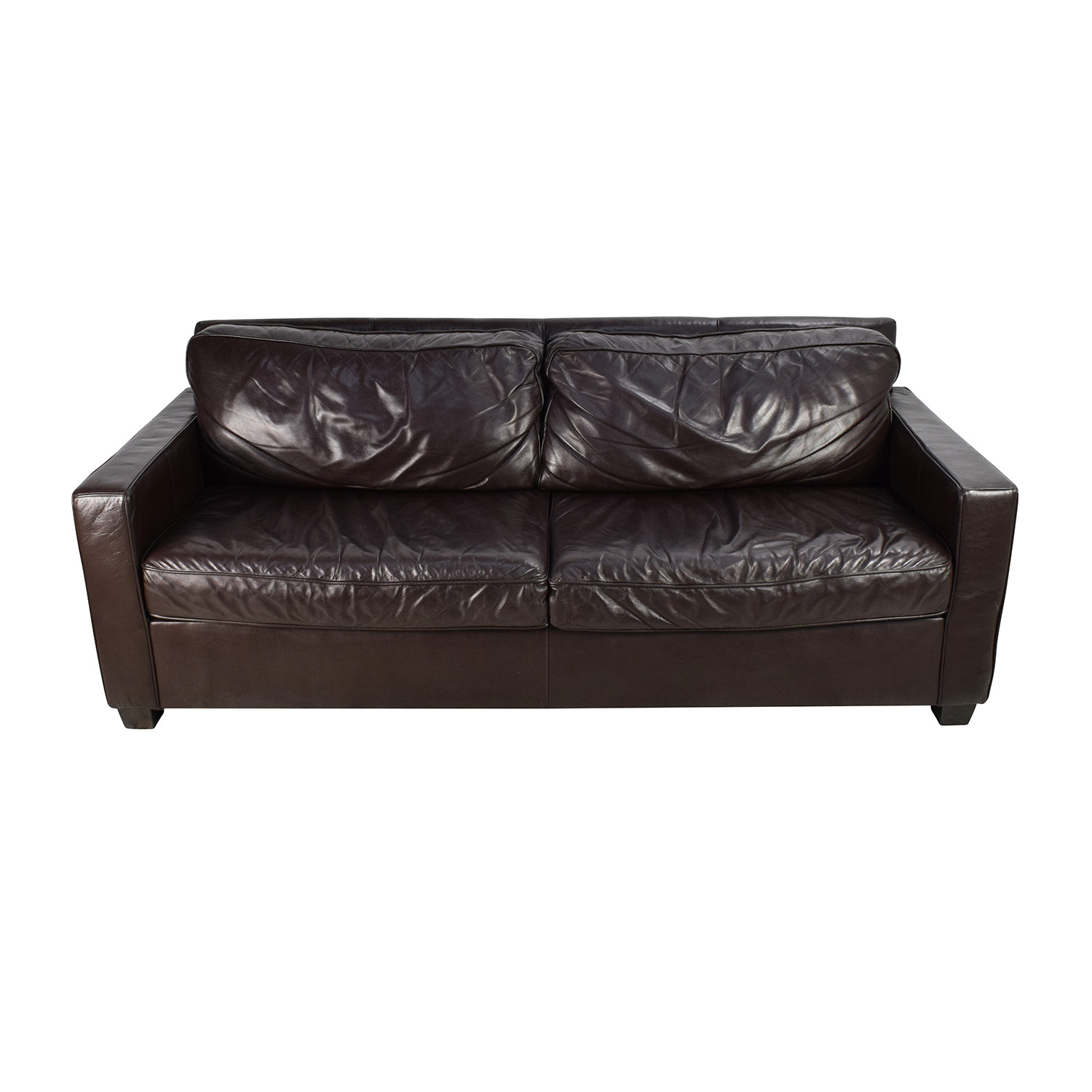 ... West Elm West Elm Henry Leather Sofa Brown Leather ...