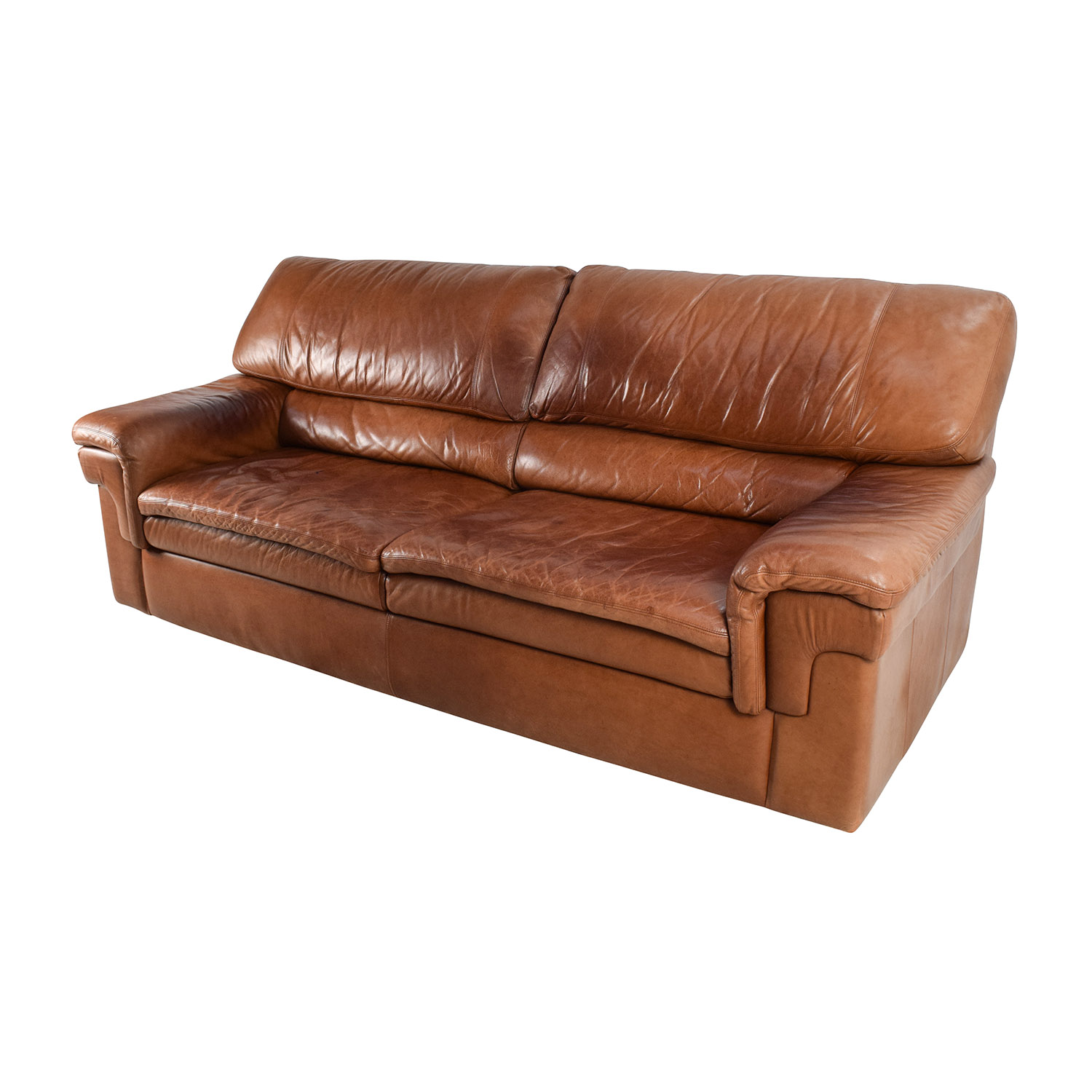 71 off classic cherry brown leather sofa sofas for Traditional leather furniture
