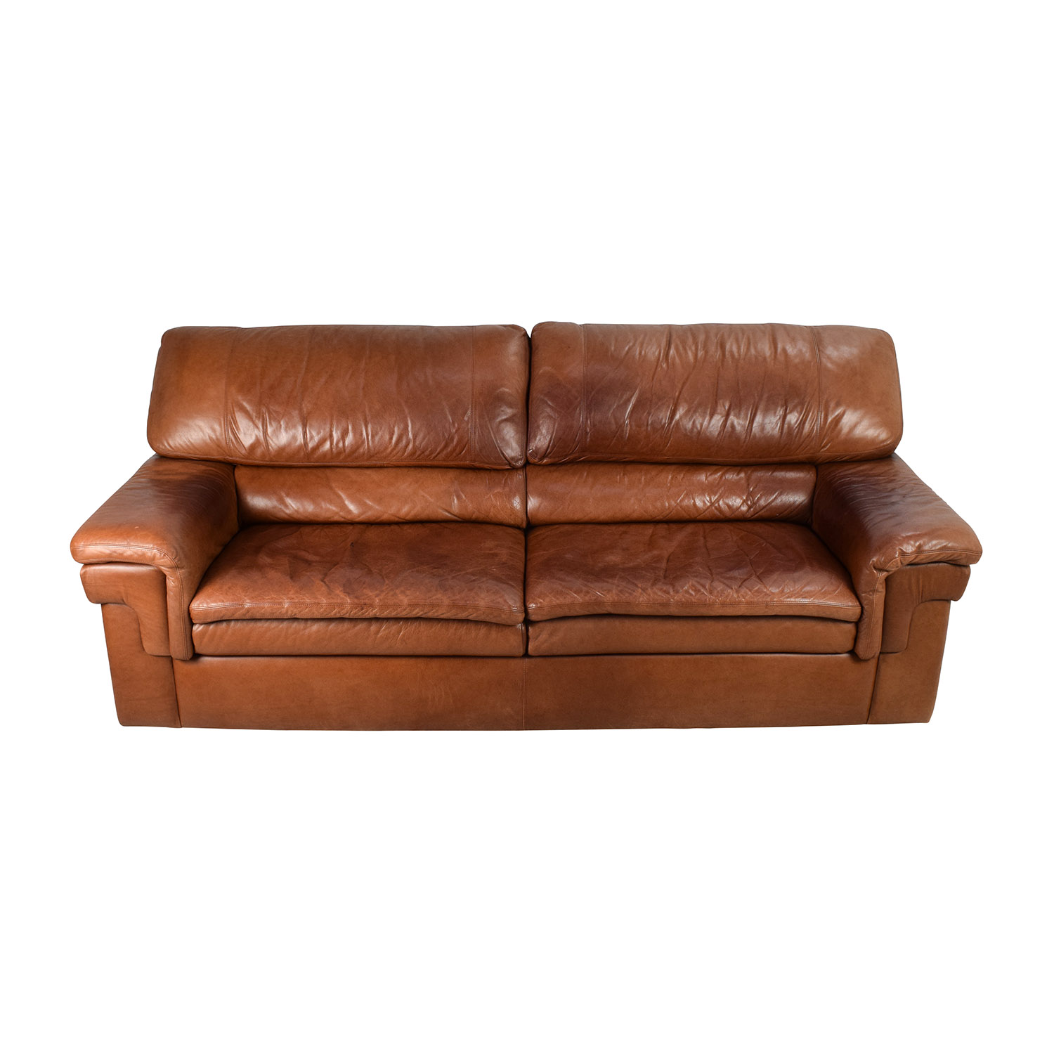 Classic Cherry Brown Leather Sofa