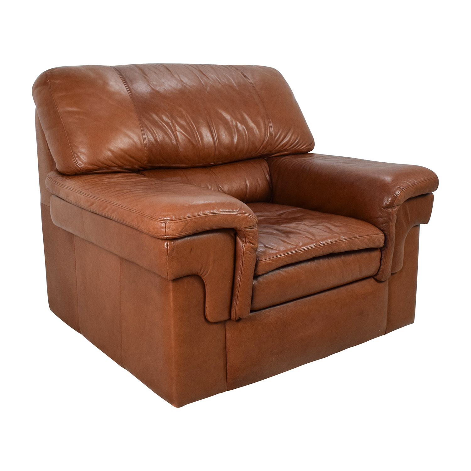 70 Off Classic Cherry Brown Leather Armchair Chairs