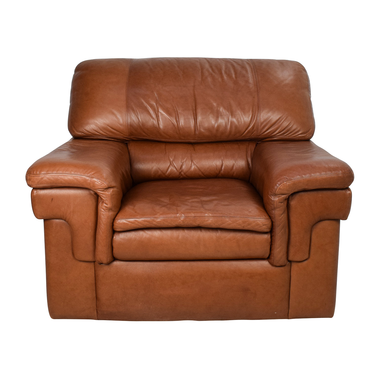 Classic Cherry Brown Leather Armchair Brown