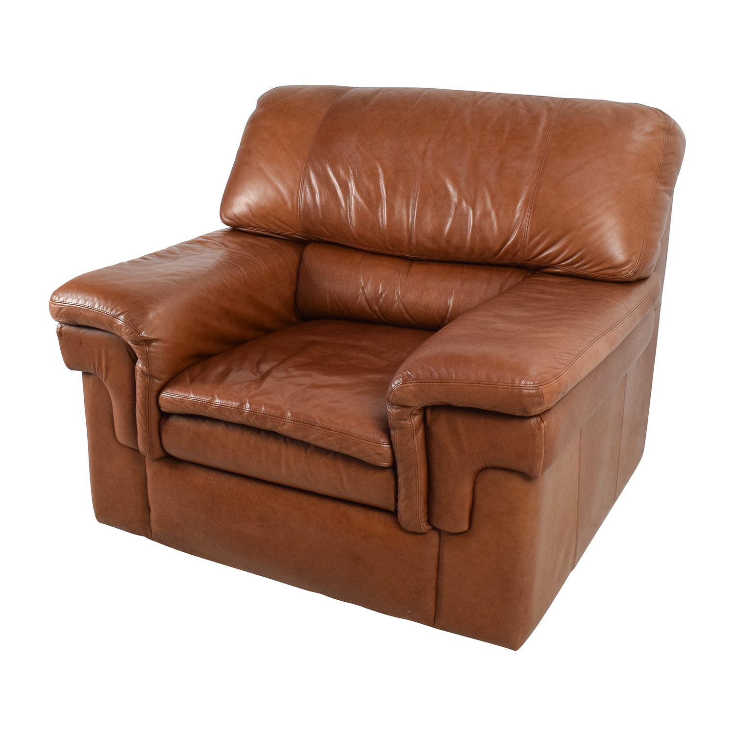 70% OFF - Classic Cherry Brown Leather Armchair / Chairs