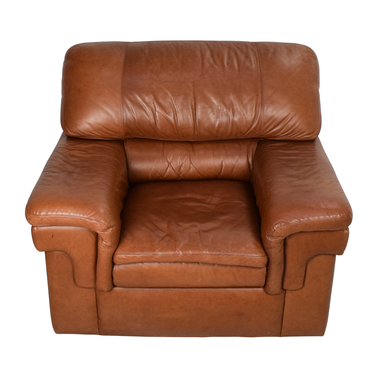 Classic Cherry Brown Leather Armchair for sale