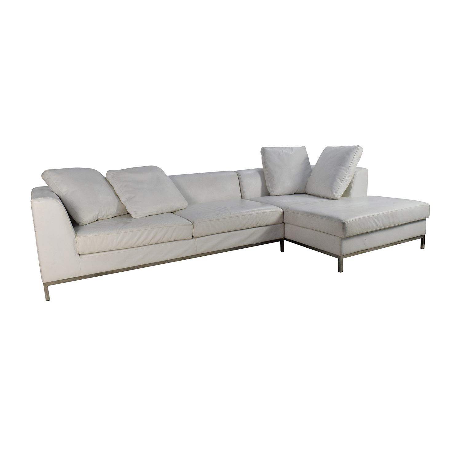 82 off white leather sectional couch sofas. Black Bedroom Furniture Sets. Home Design Ideas