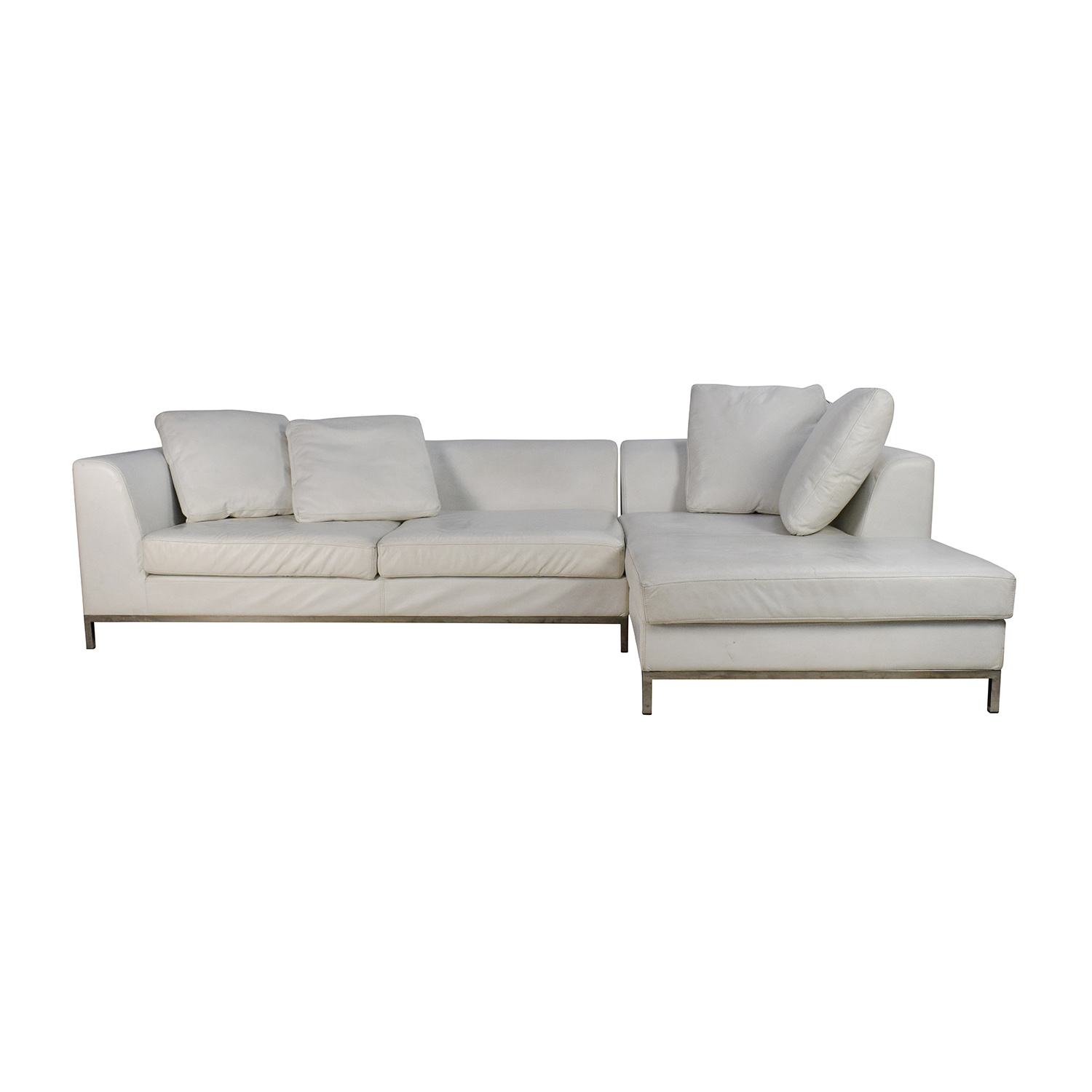 White Leather Sectional Couch used