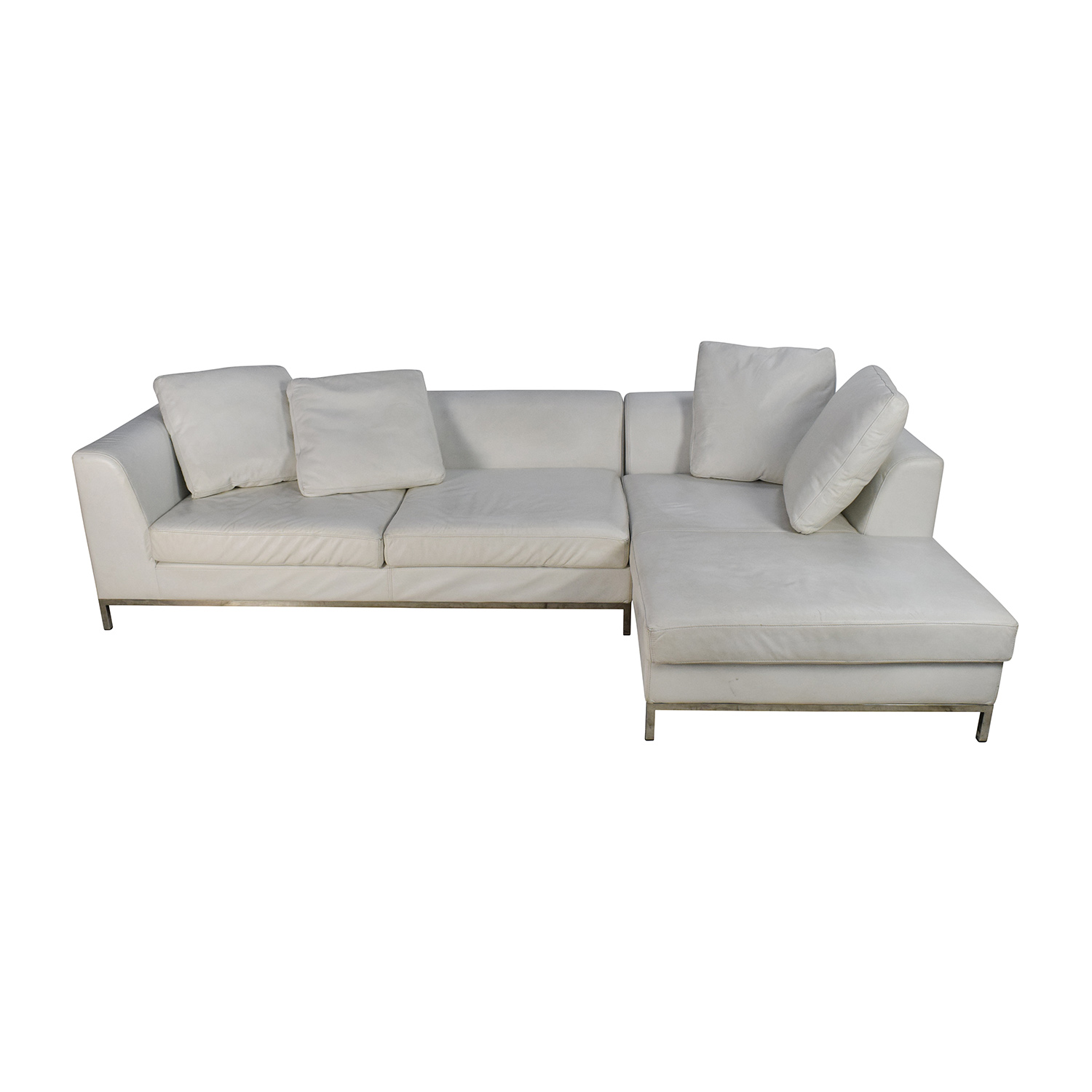 White Leather Sectional Couch on sale