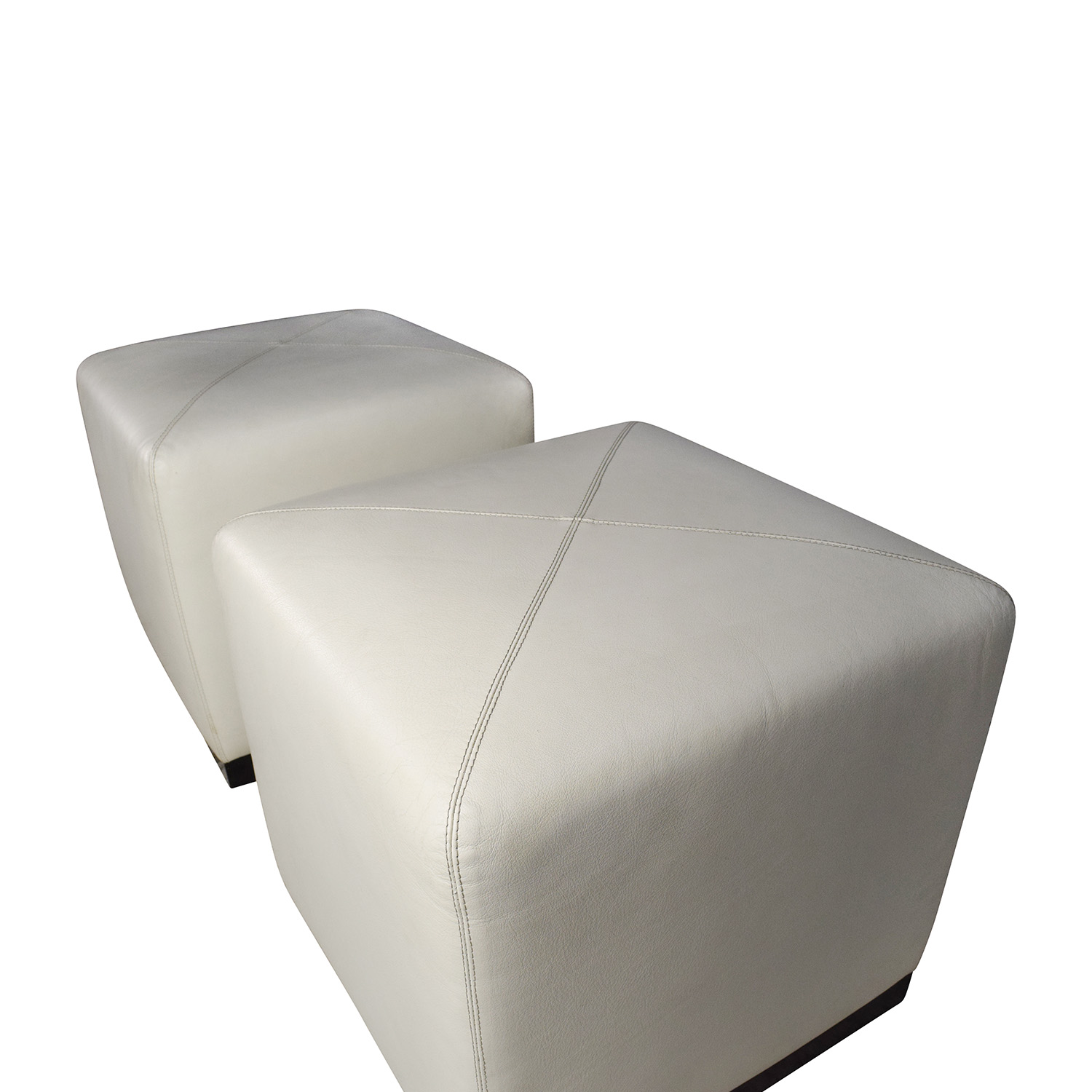 off  pair of white leather ottoman cubes  storage -  pair of white leather ottoman cubes  ottomans