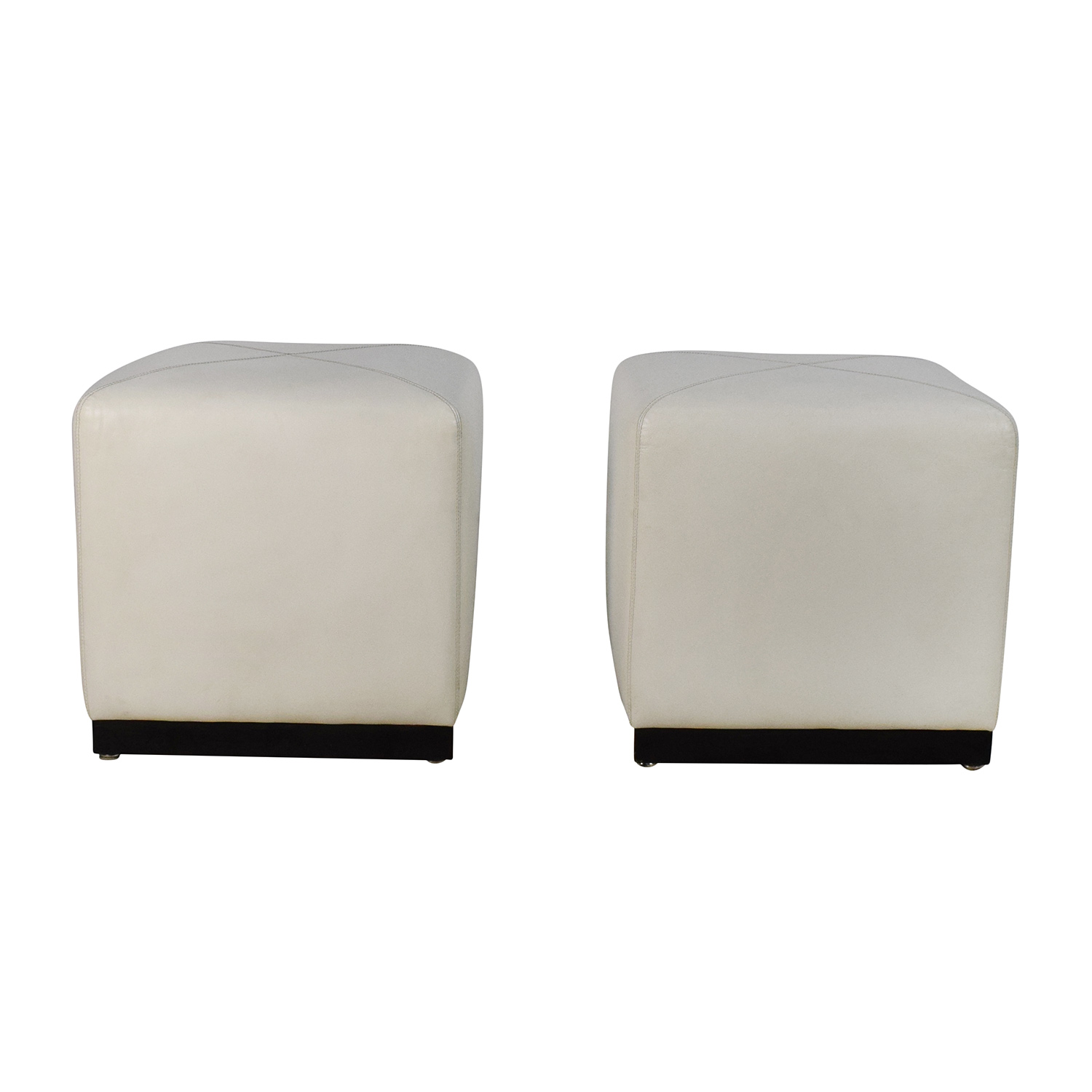 Pair Of White Leather Ottoman Cubes Price