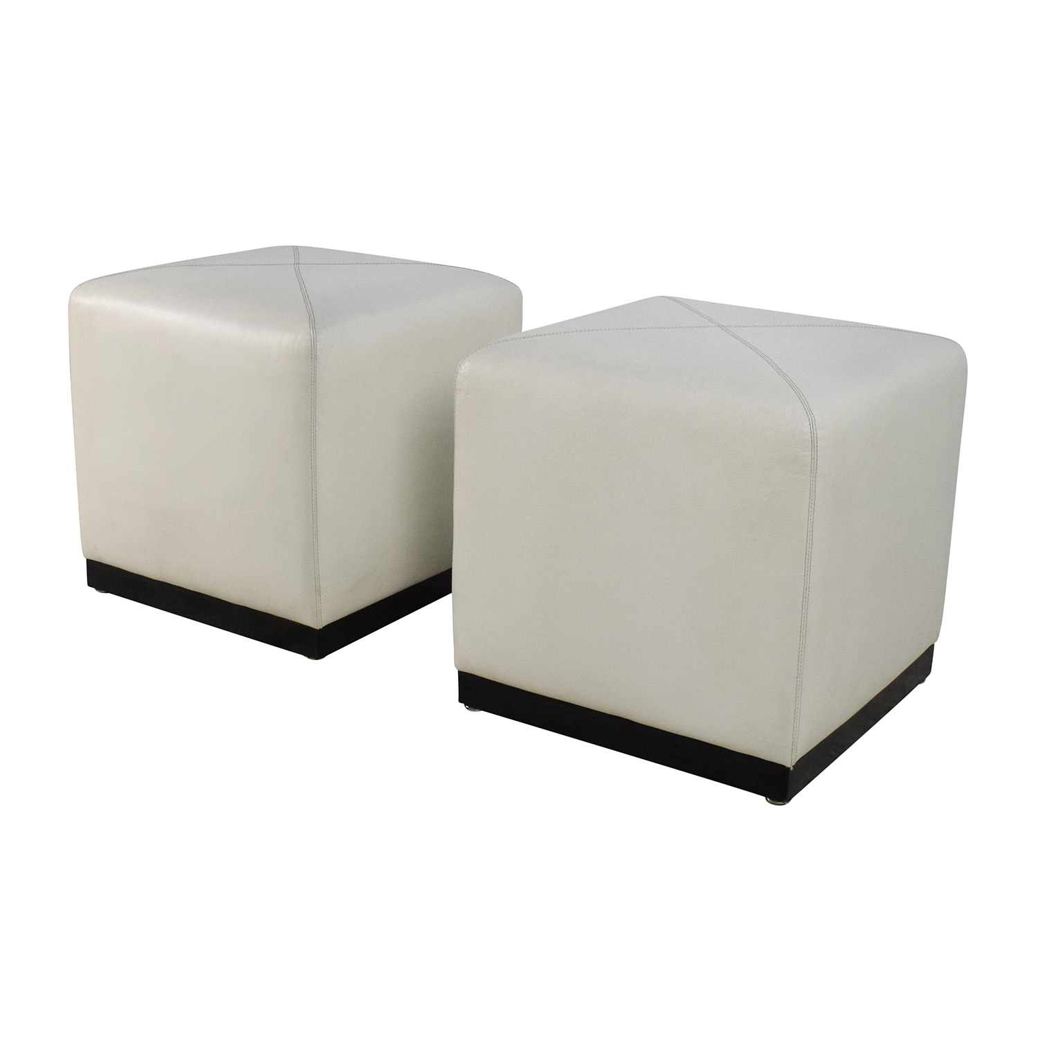 Pair Of White Leather Ottoman Cubes