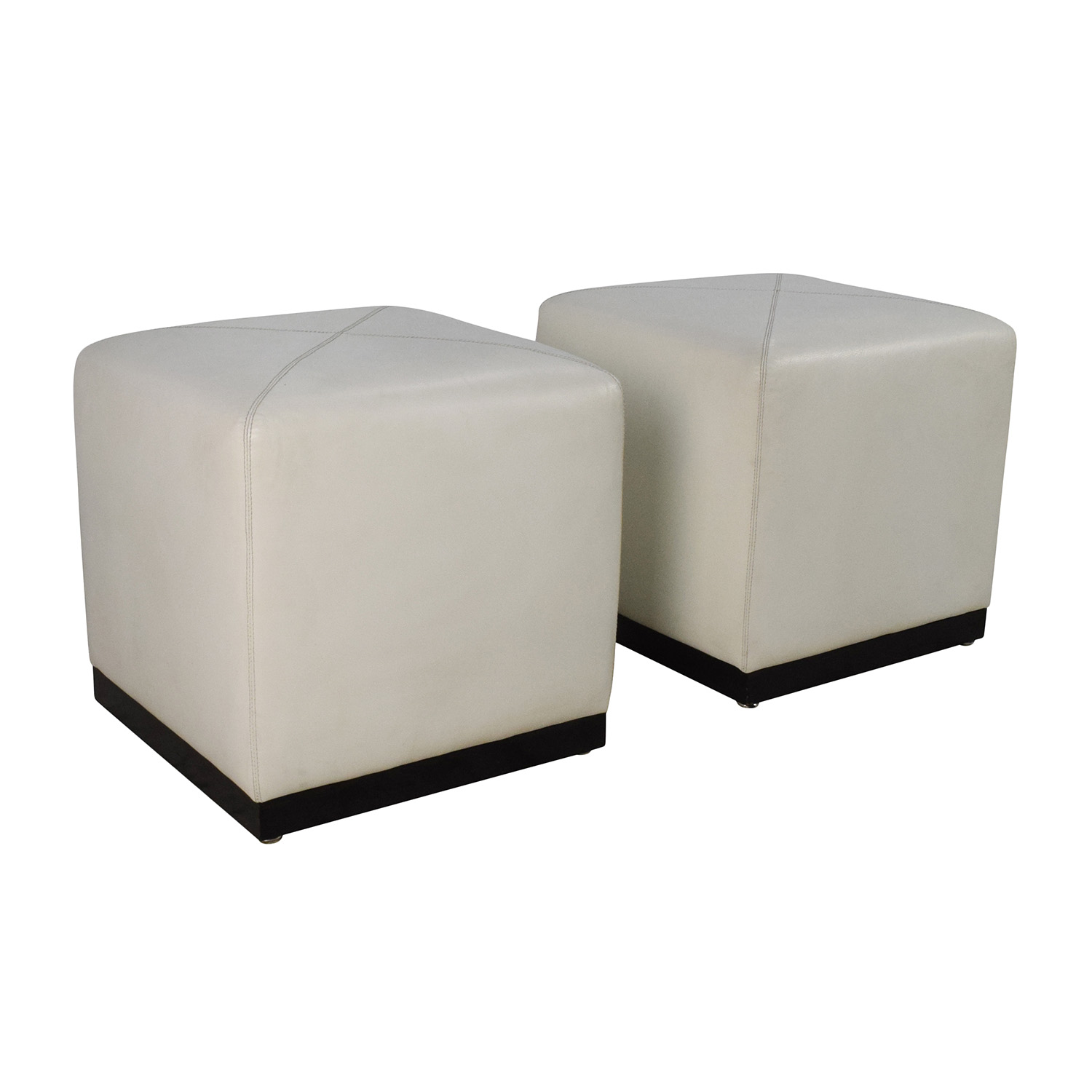 off  pair of white leather ottoman cubes  storage -  pair of white leather ottoman cubes sale