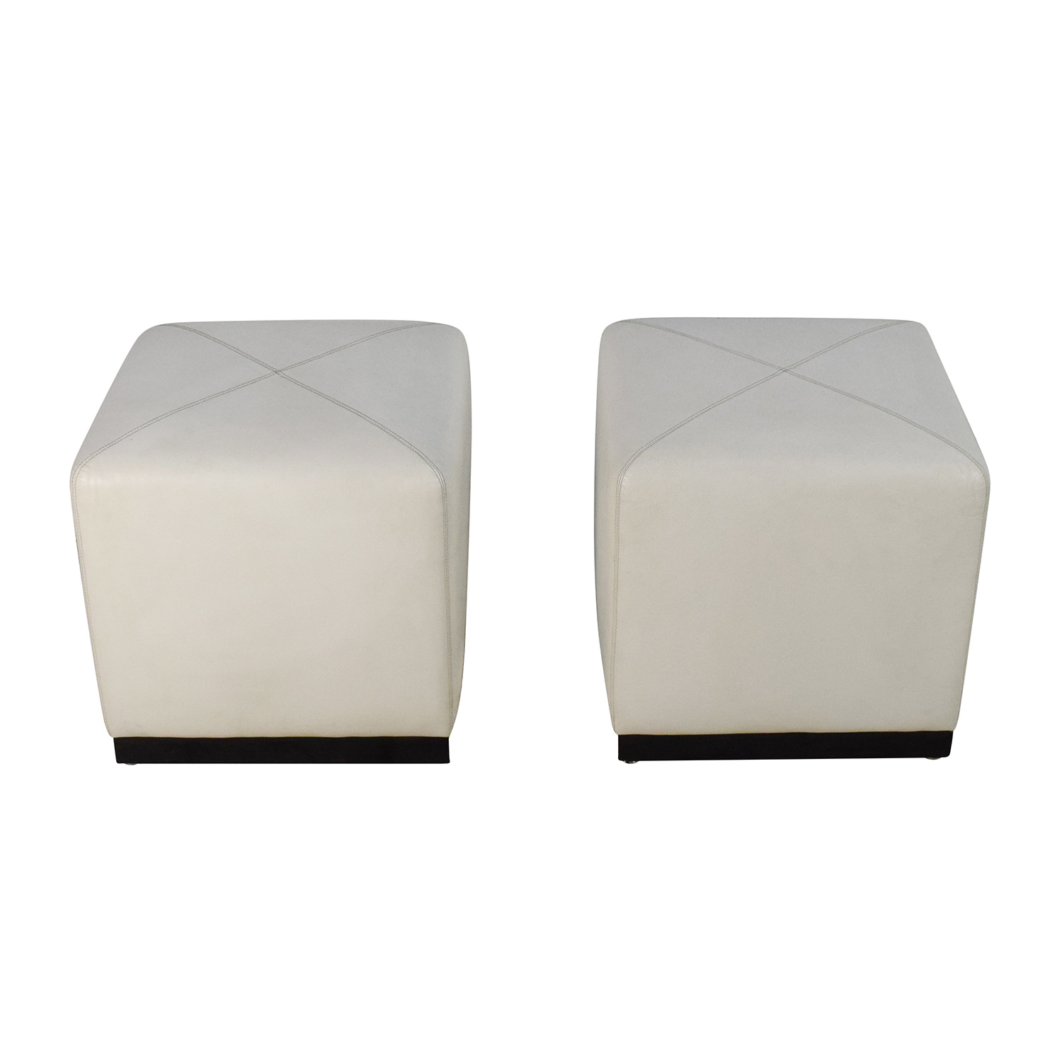 Pair of White Leather Ottoman Cubes Storage - 90% OFF - Large Klismos Leather And Wood Ottoman / Storage