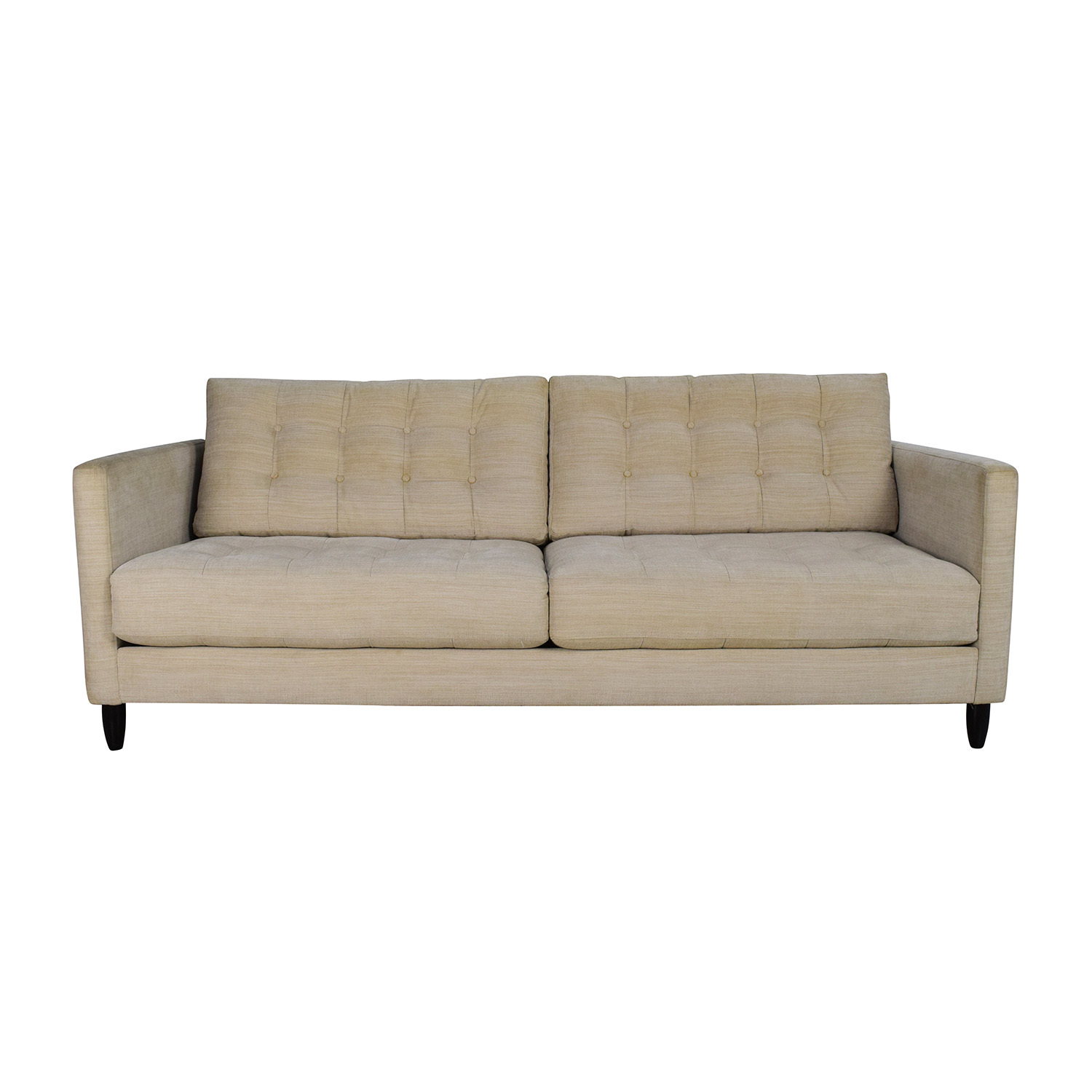 72% OFF - Macy\'s Macy\'s Beige Mid-Century Style Couch / Sofas