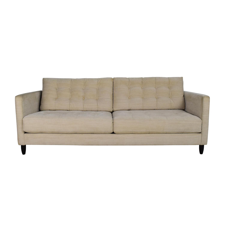 Macys Macys Beige Mid-Century Style Couch Classic Sofas
