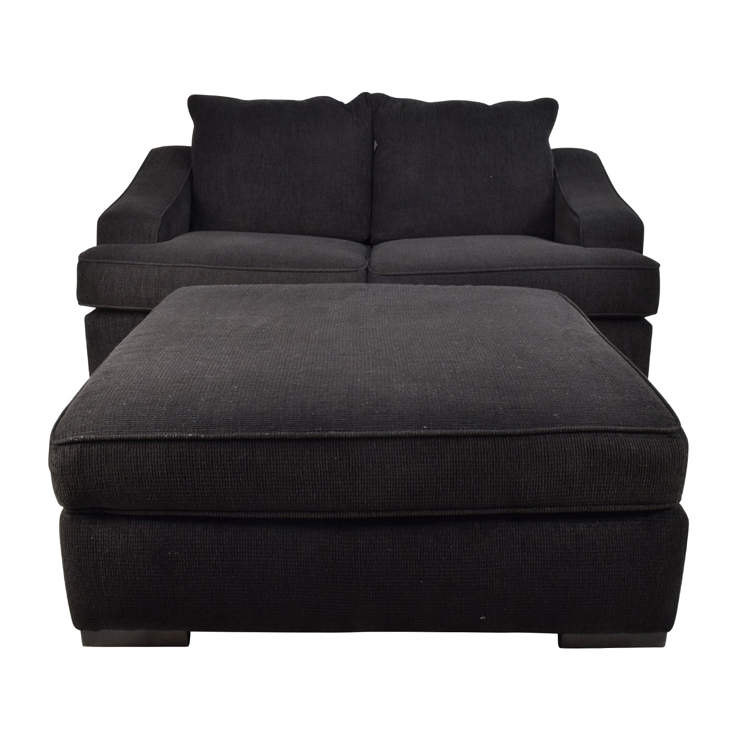 67% OFF - Black Cloth Loveseat and Matching Oversized ...