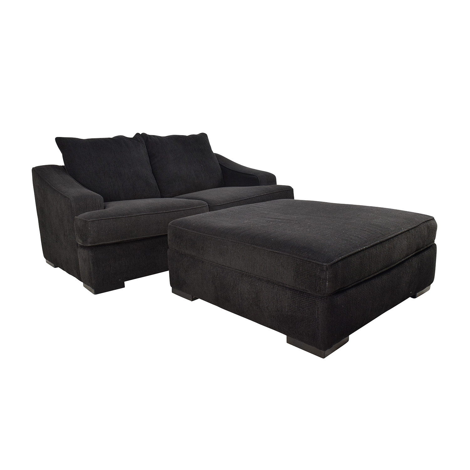 67 Off Black Cloth Loveseat And Matching Oversized Ottoman Sofas