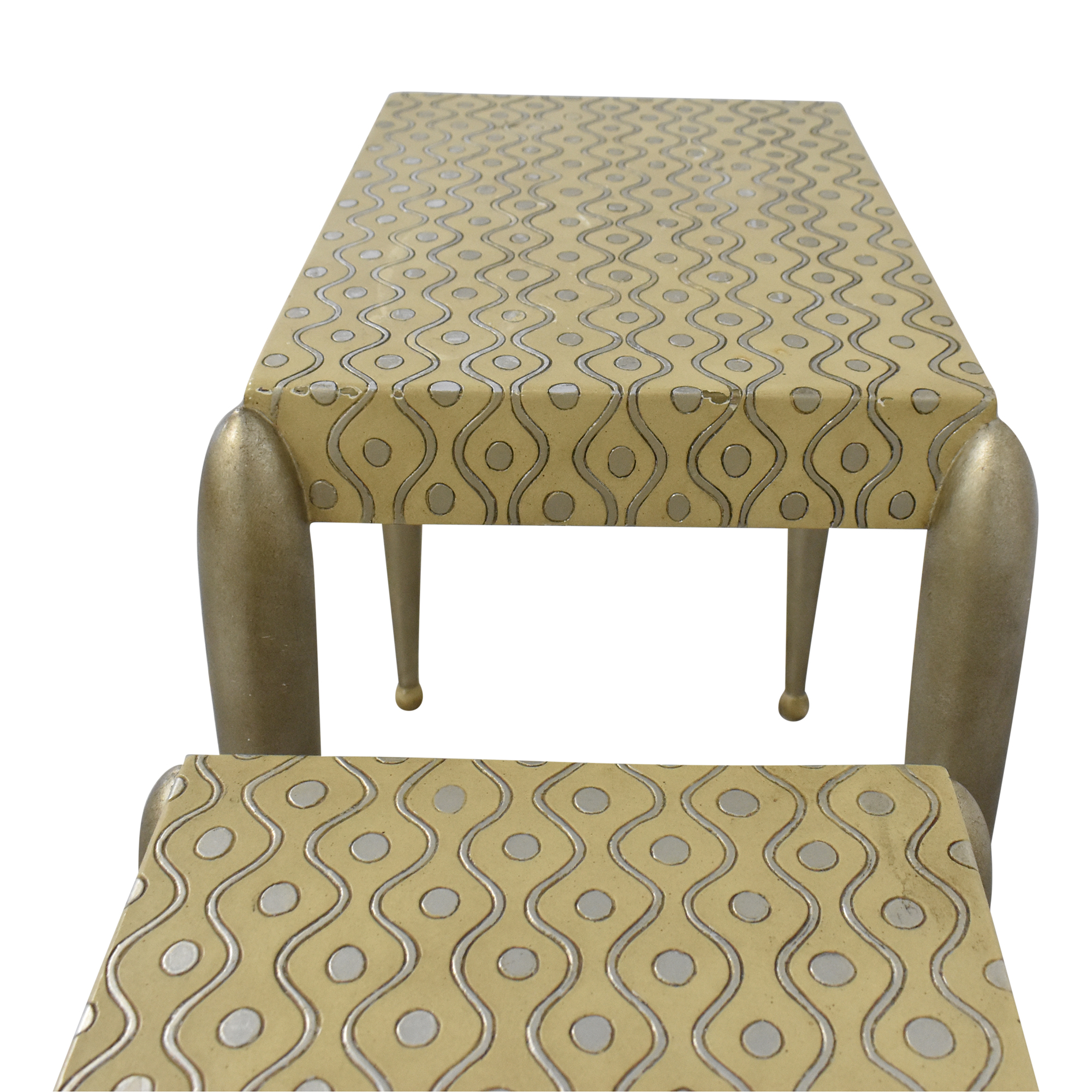 ABC Carpet & Home African Inspired Nesting Tables with Drawers silver, beige