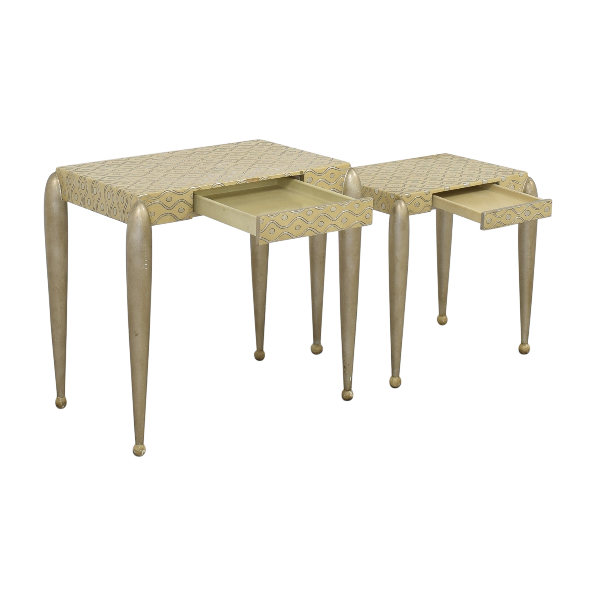 African Inspired Nesting Tables with Drawers / Accent Tables