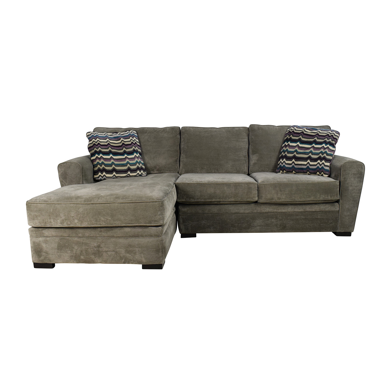 52 Off Raymour Flanigan Artemis Ii Microfiber Sectional Sofa Sofas