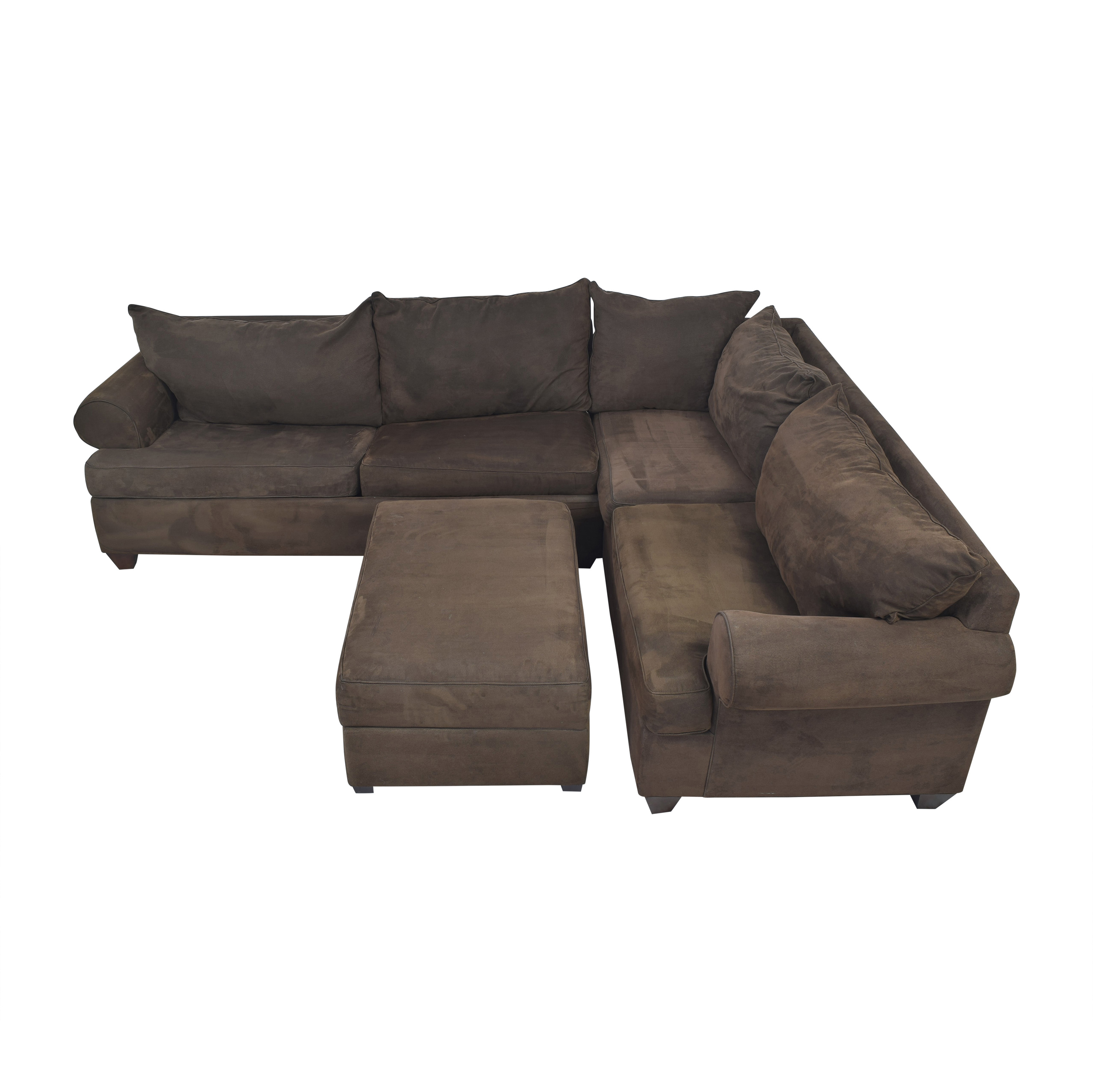 shop Raymour & Flanigan Three Piece Sectional Sleeper Sofa with Ottoman Raymour & Flanigan Sectionals