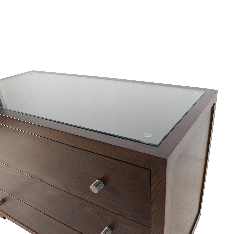 89 Off Custom Custom Glass Top Wooden Dresser Storage
