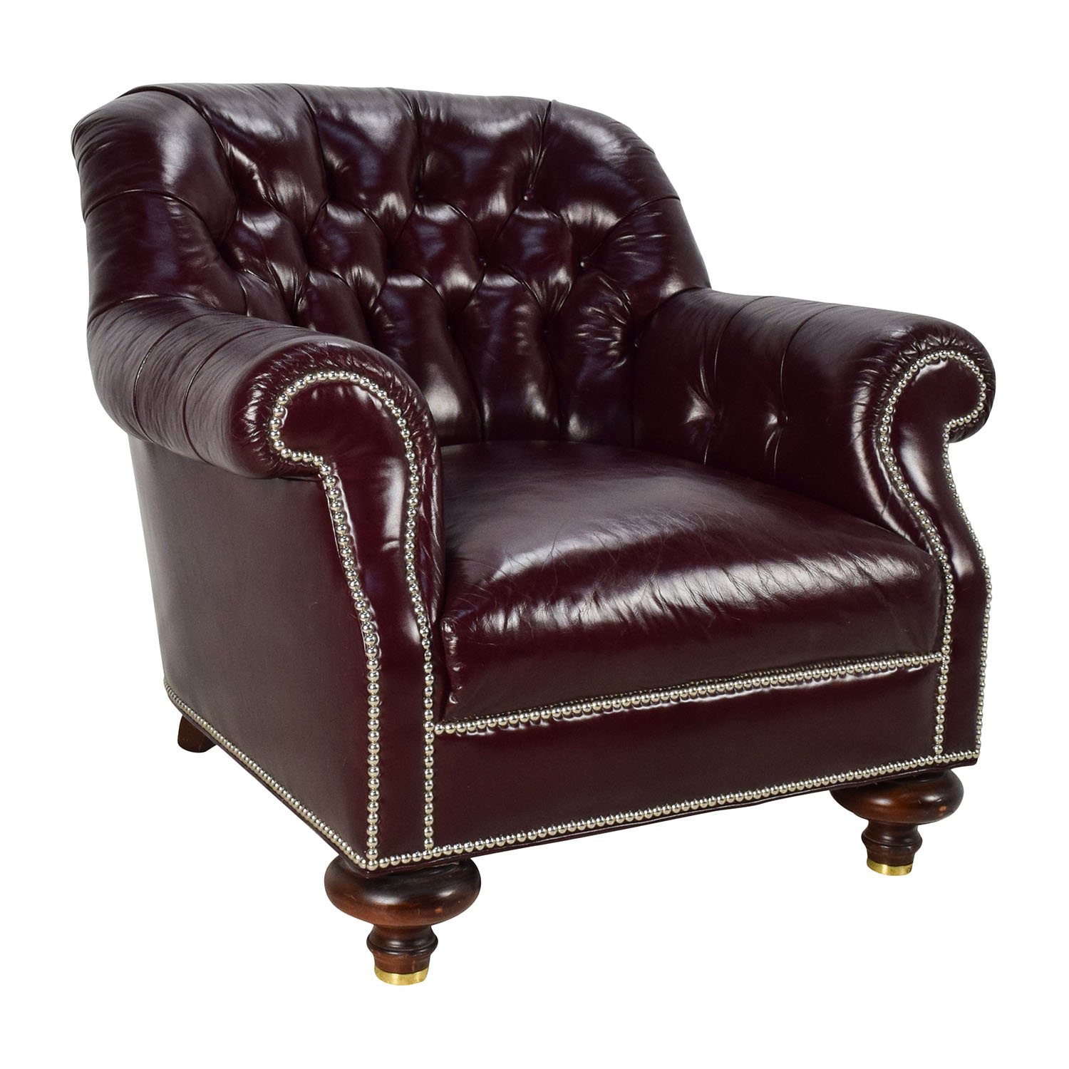 90% OFF Baker Furniture Baker Tufted Leather Lounge Chair Chairs