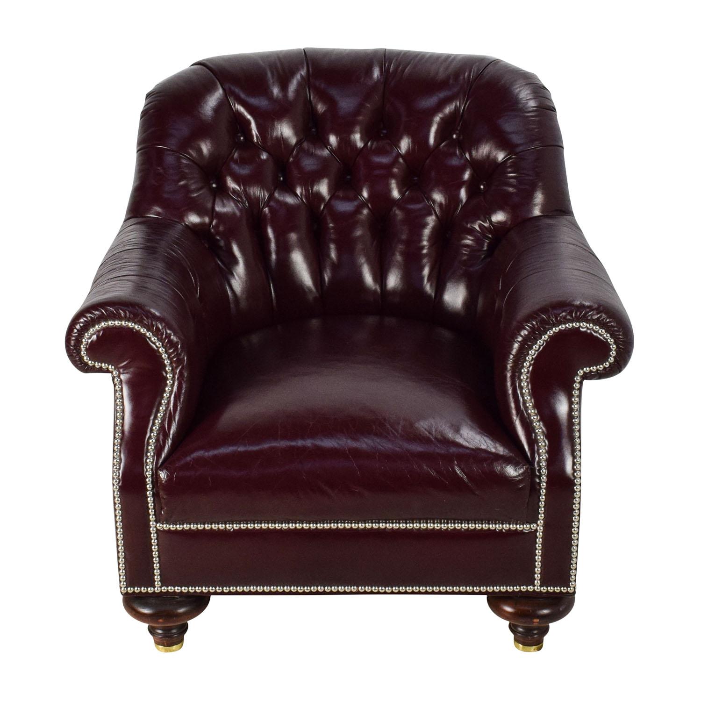 baker furniture baker tufted leather lounge chair used - Leather Lounge Chair