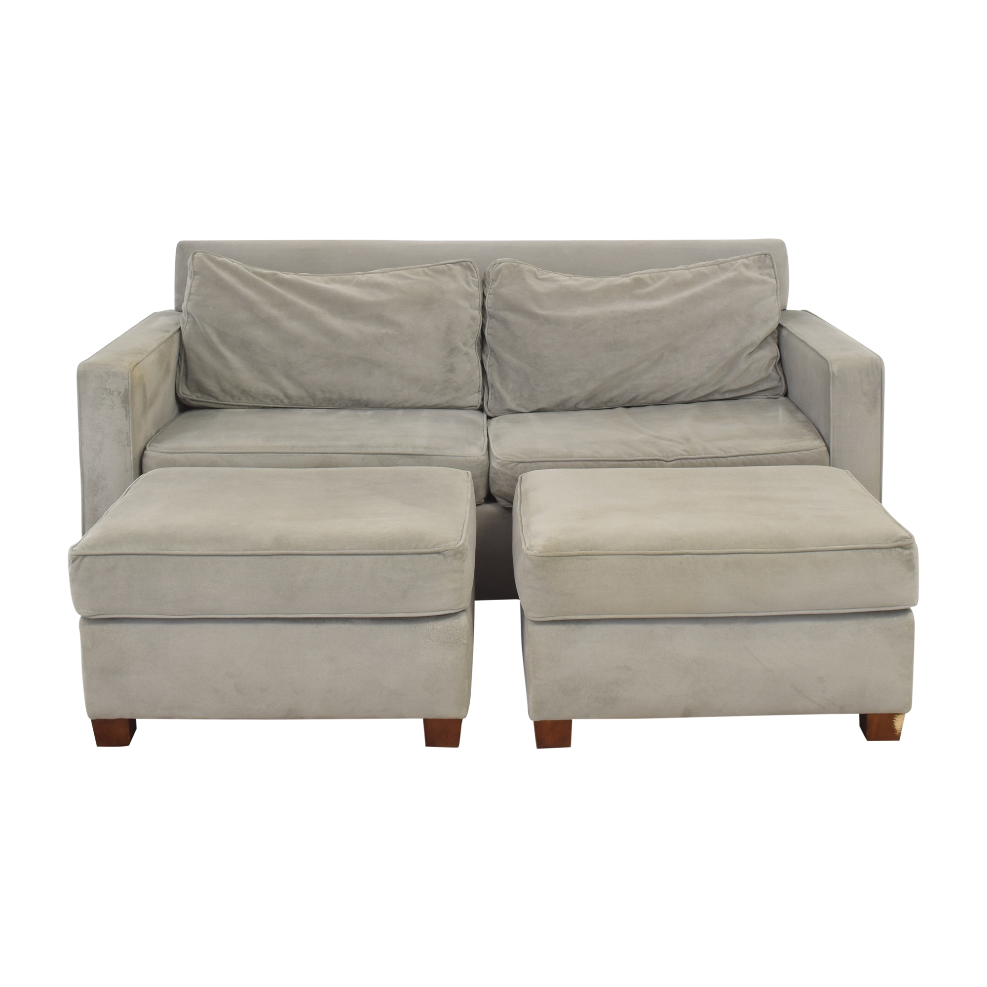 West Elm West Elm Henry Sofa with Two Matching Ottomans ma