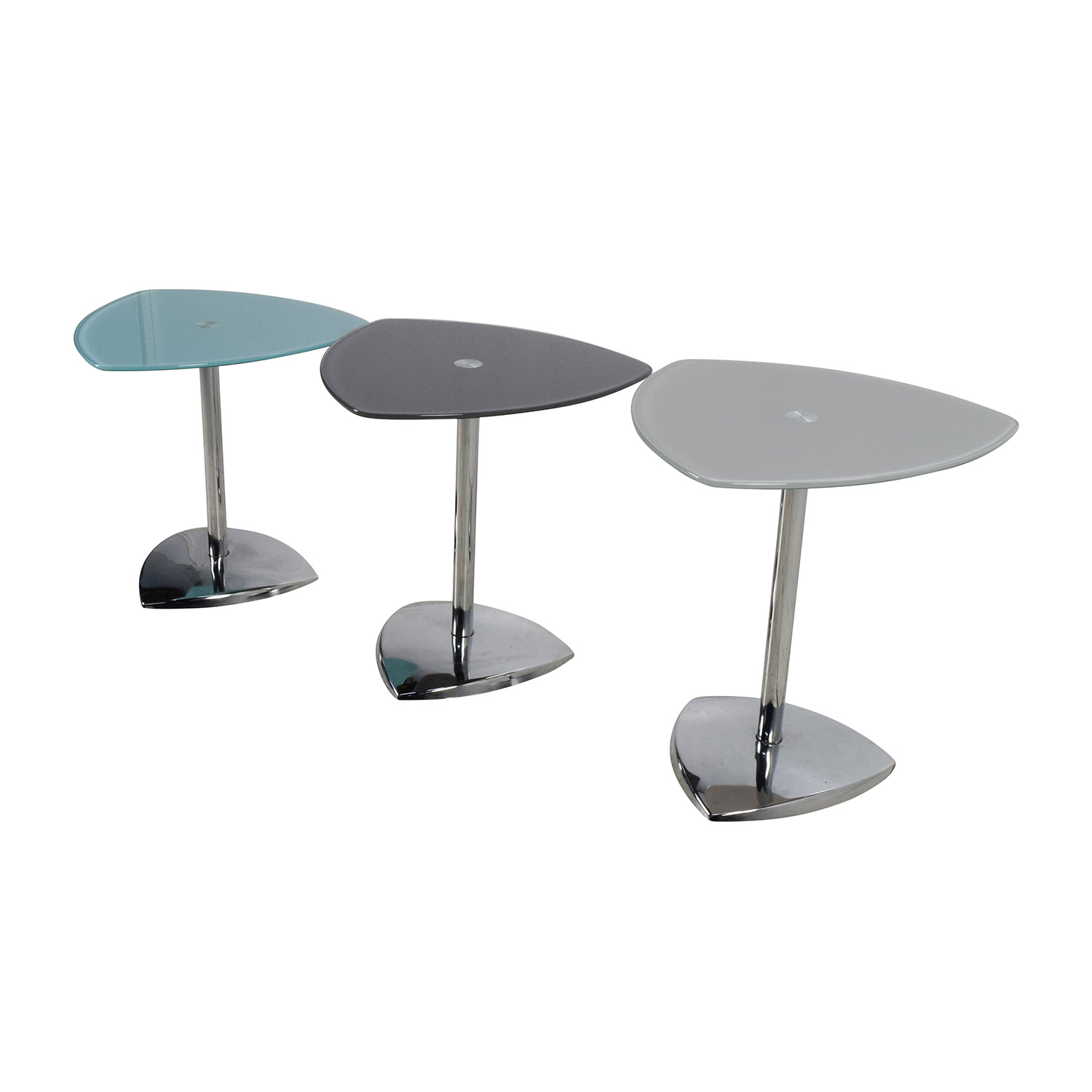 86 Off Set Of 3 Glass Side Tables Tables