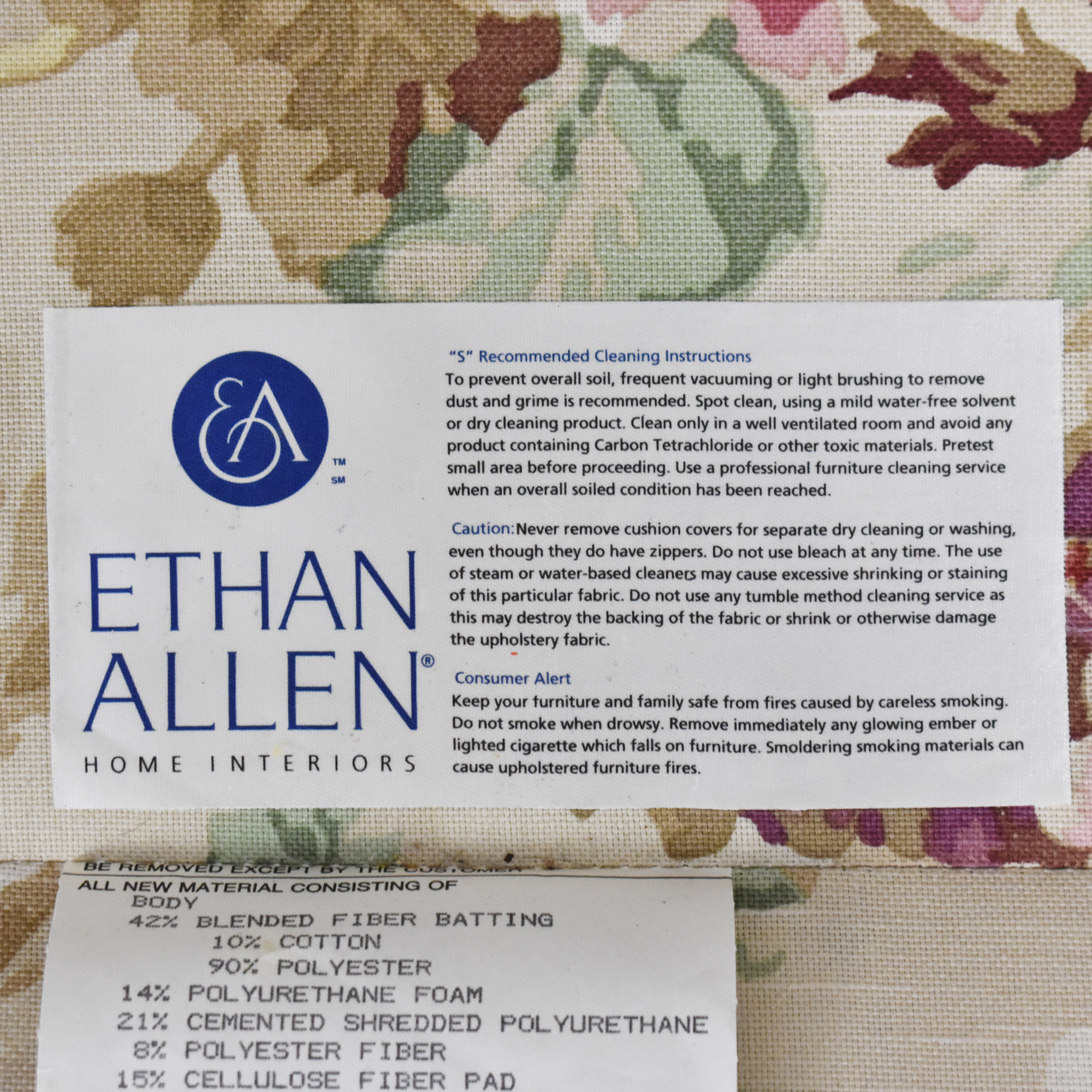 Ethan Allen Ethan Allen Floral Three Cushion Sofa second hand