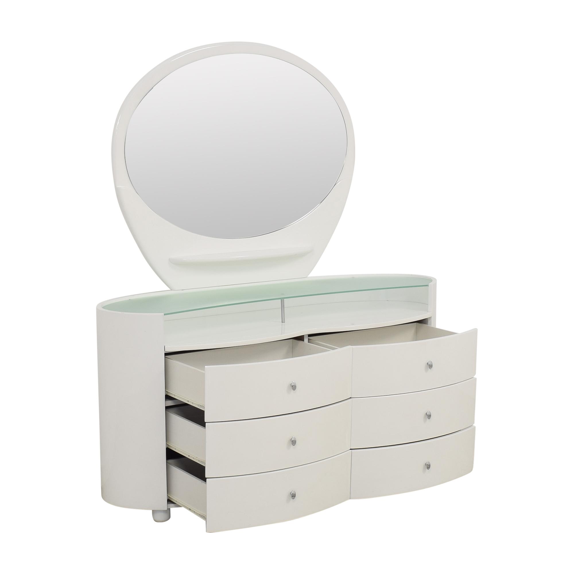 buy Vintage Style Dresser with Vanity Mirror  Storage