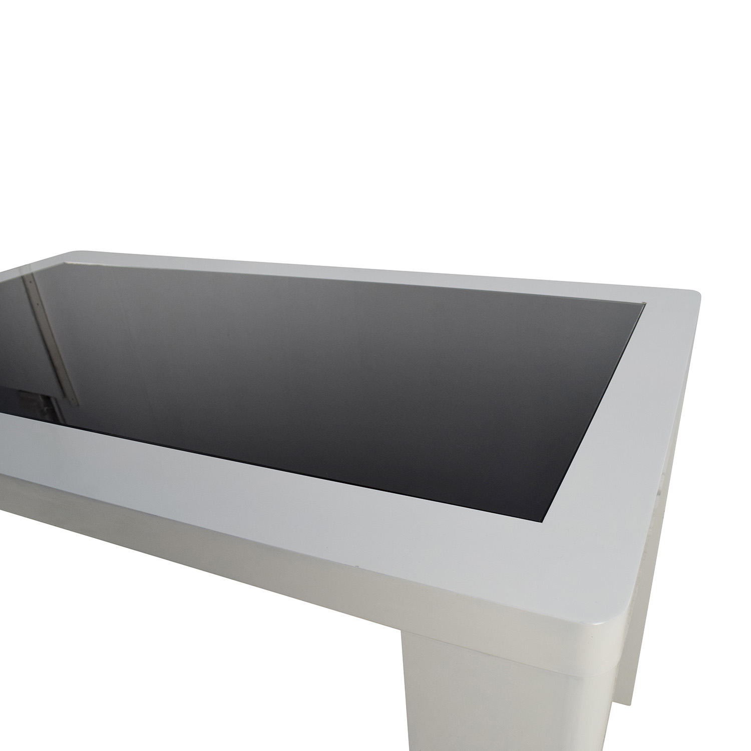 buy Modern White Table with Black Glass Top
