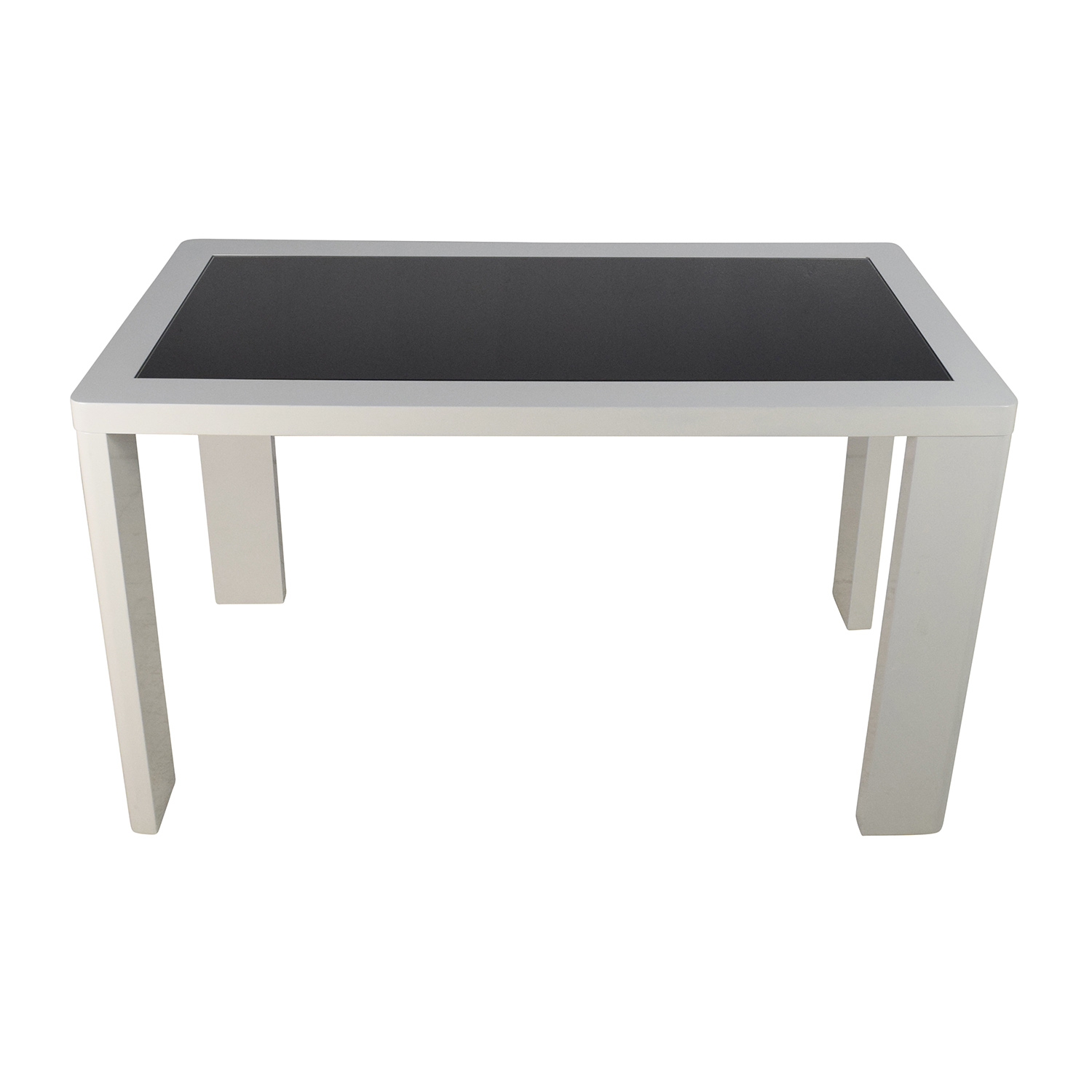shop Modern White Table with Black Glass Top Dinner Tables