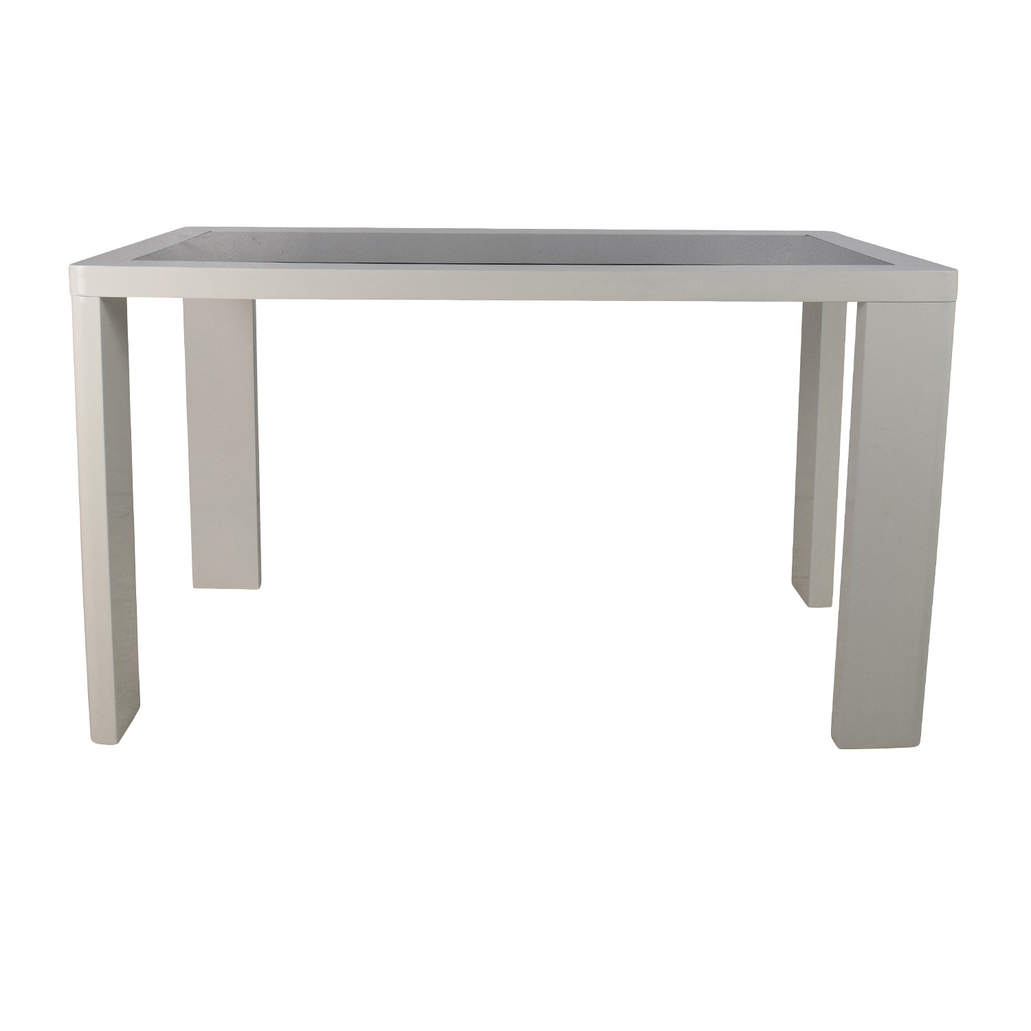 Modern White Table with Black Glass Top second hand