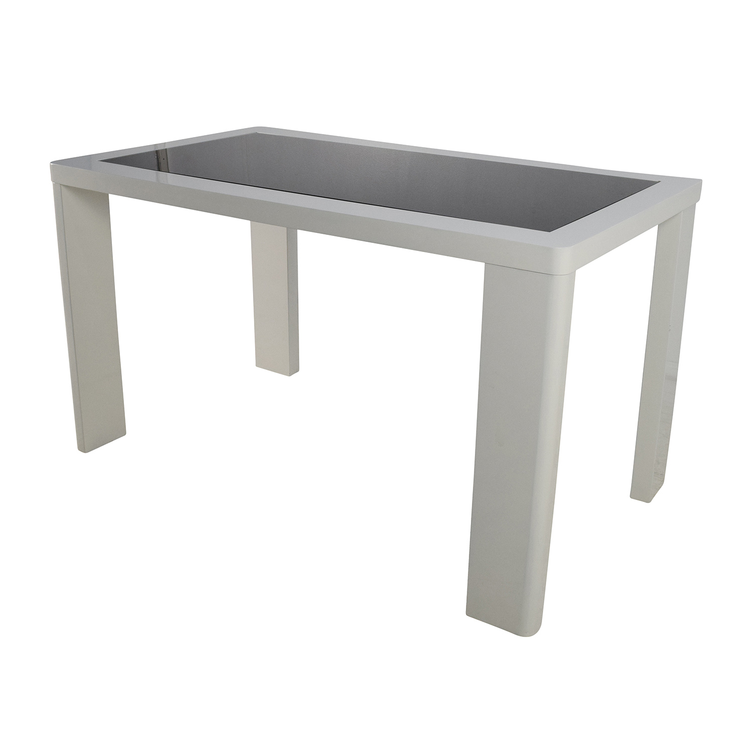 shop Modern White Table with Black Glass Top online