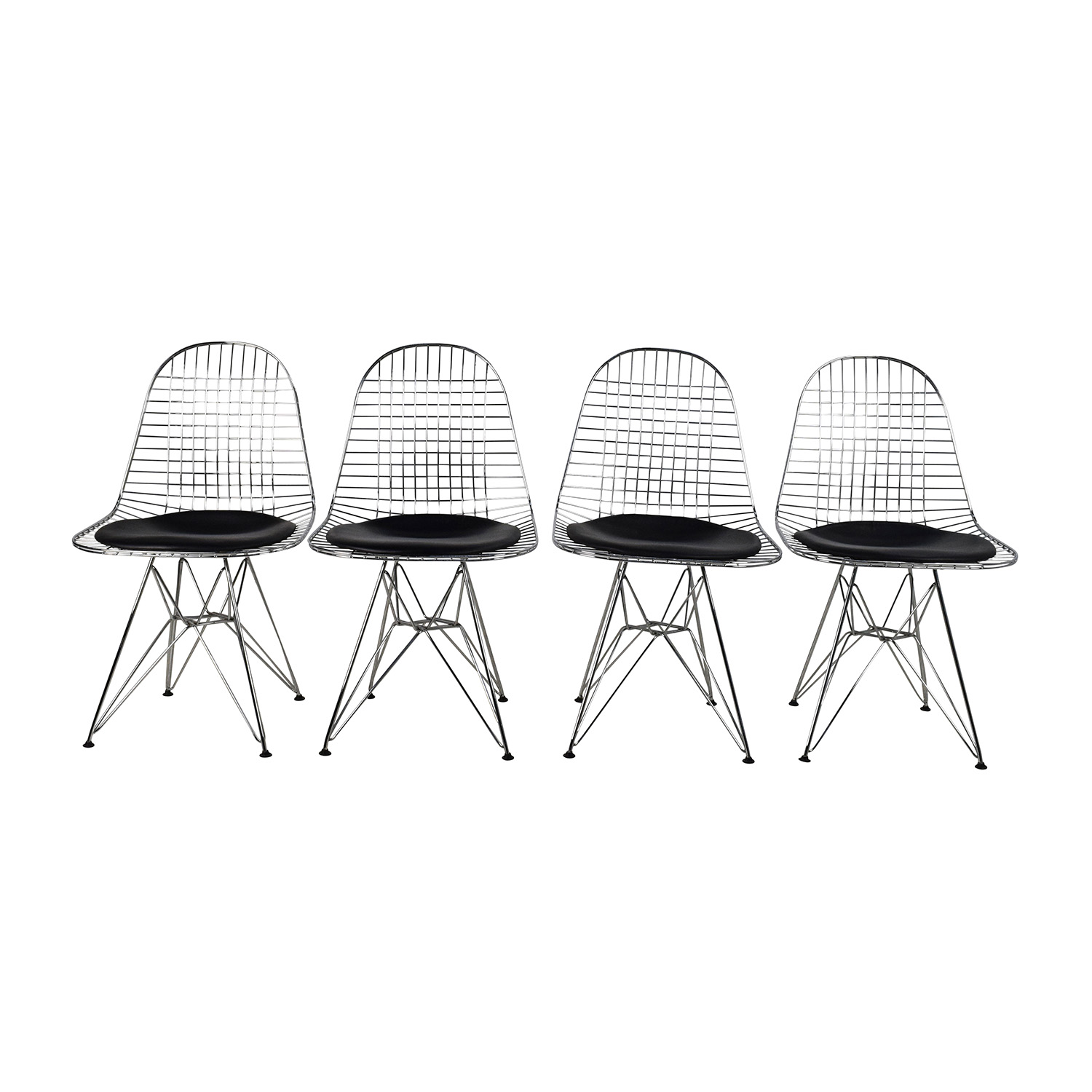 Herman Miller Eames Wire Chair Set With Black Leather Seats On