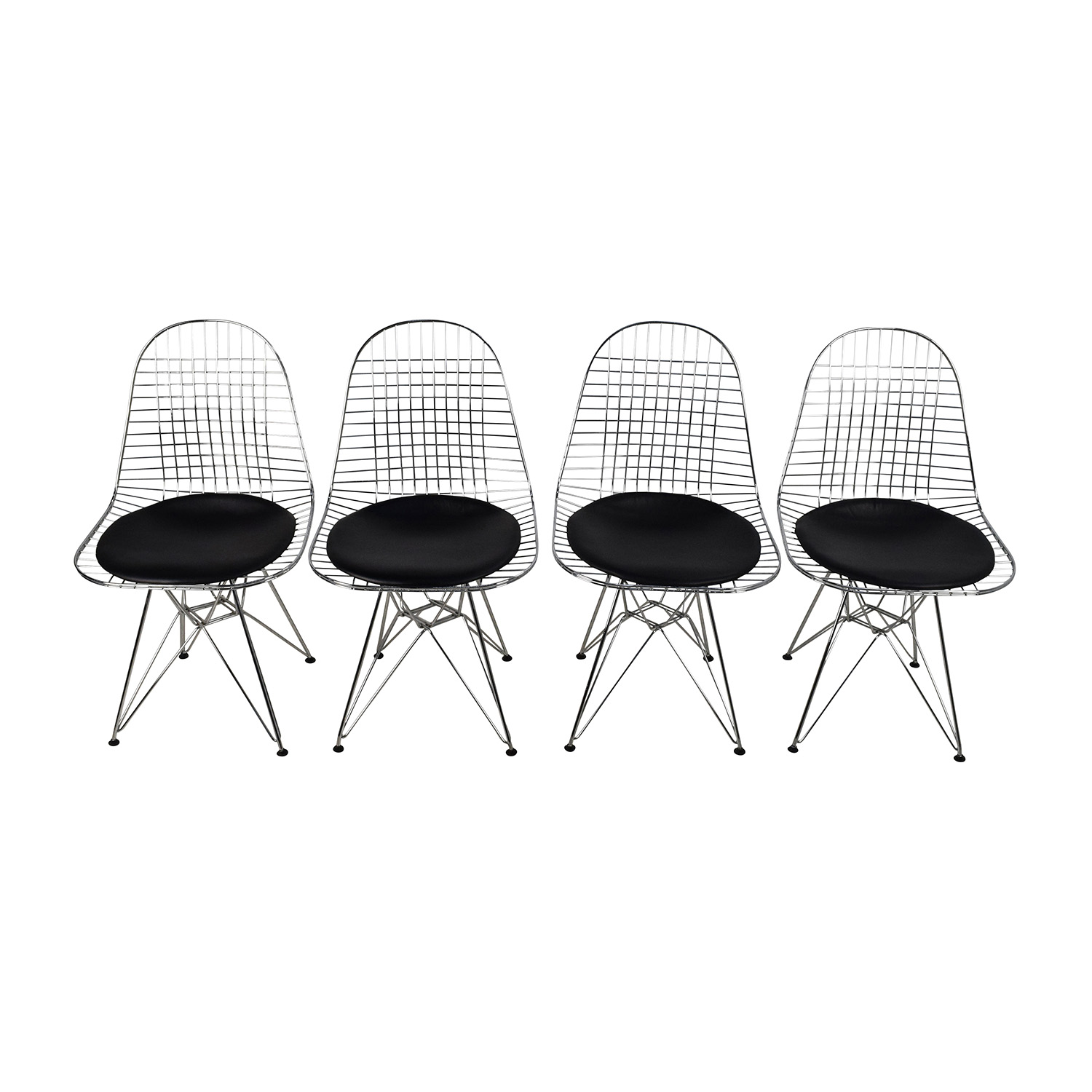 Herman Miller Herman Miller Eames Wire Chair Set with Black Leather Seats second hand