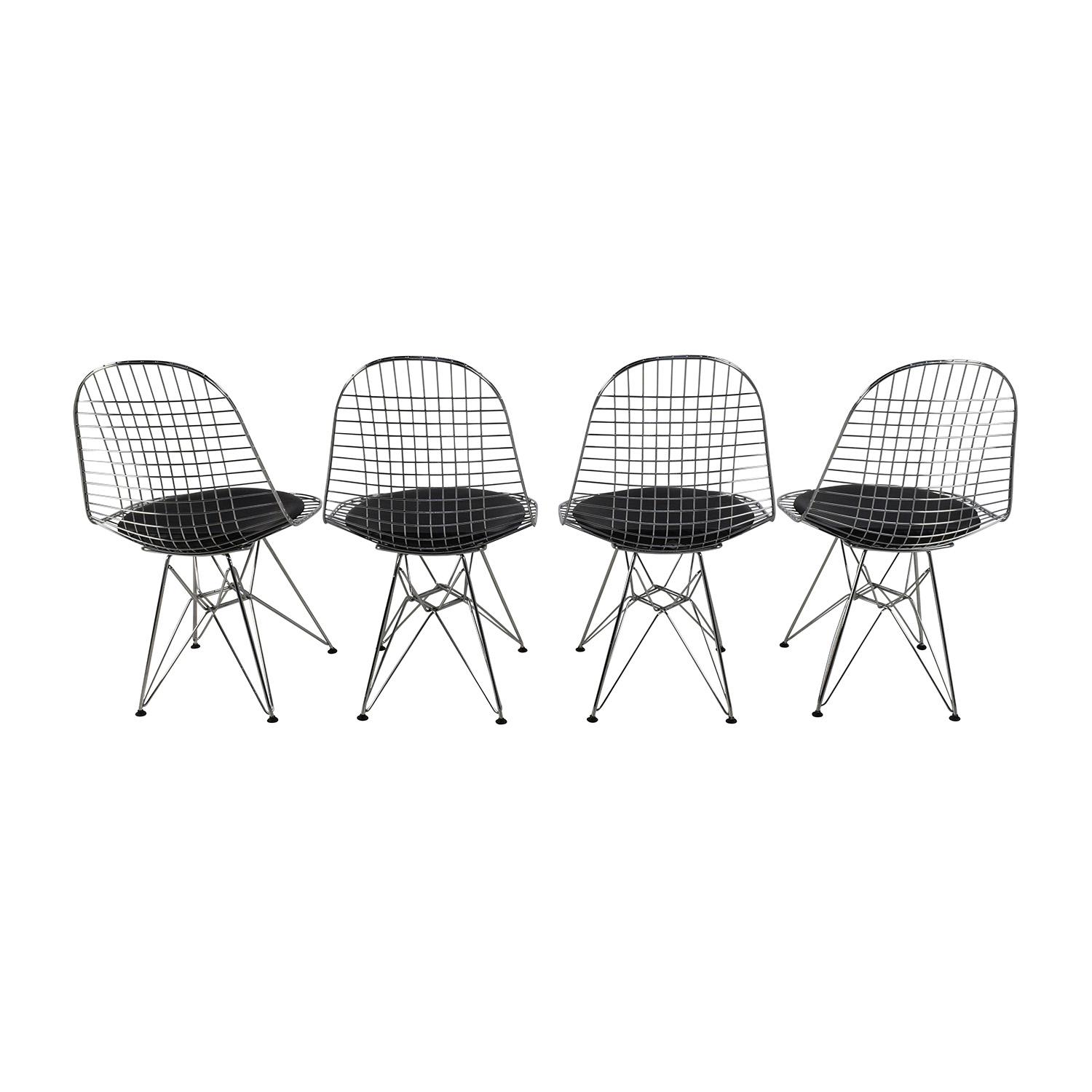 ... Herman Miller Herman Miller Eames Wire Chair Set With Black Leather  Seats Discount